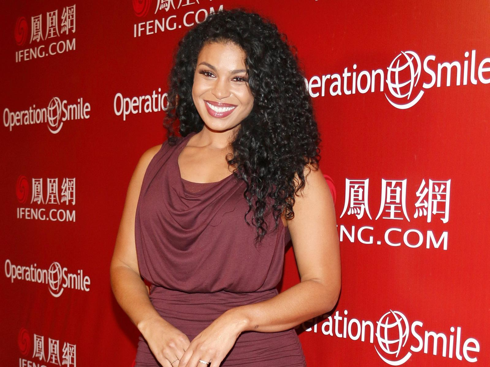 Jordin Sparks Mauve Dress at Smile Event Red Carpet