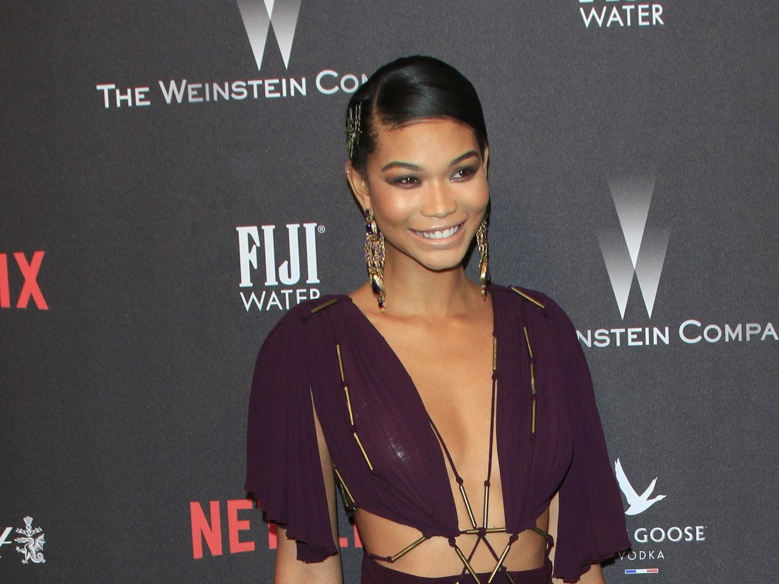 Chanel Iman Purple Dress Golden Globes After Party