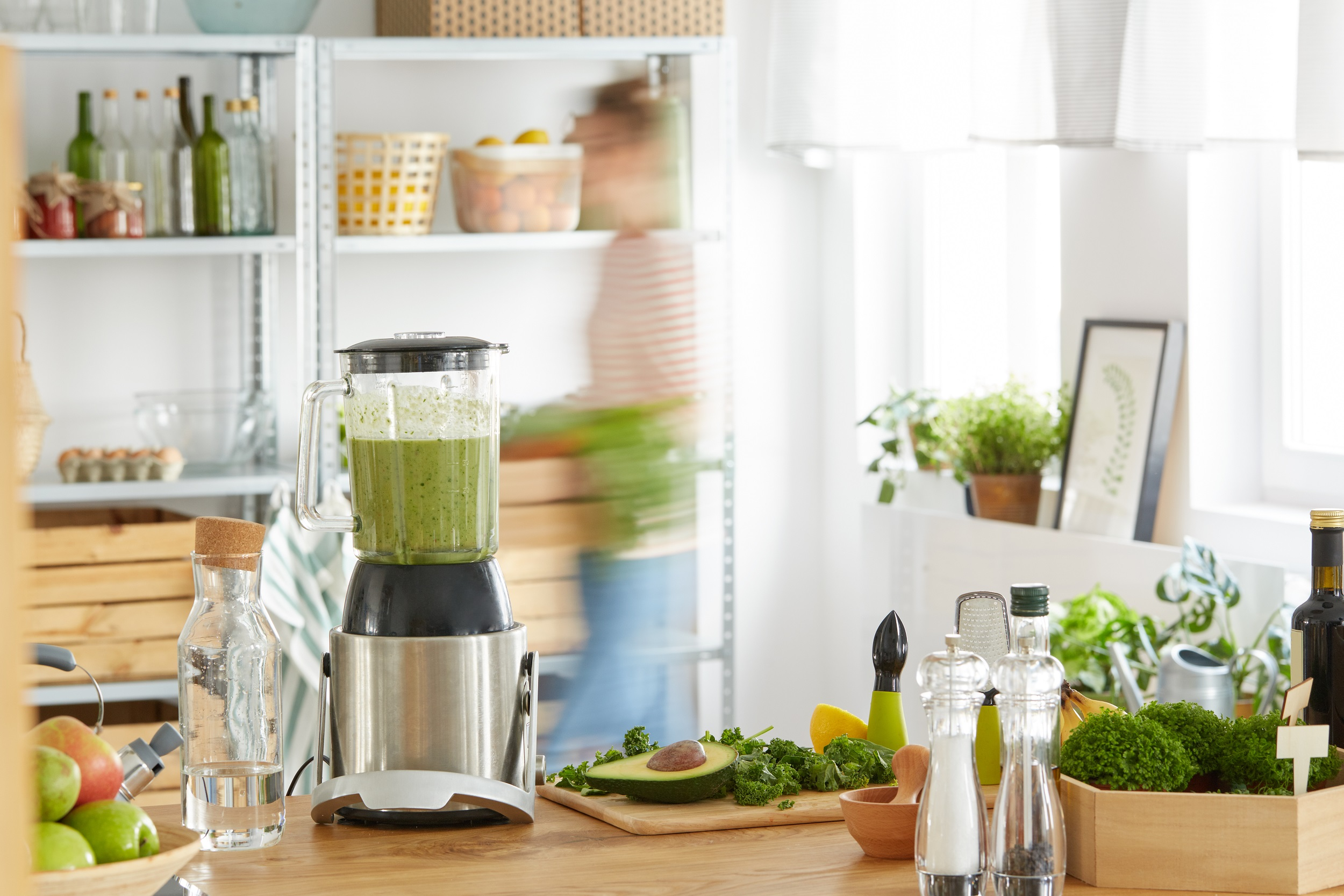 Kitchen Wood Table Blender Green Smoothie