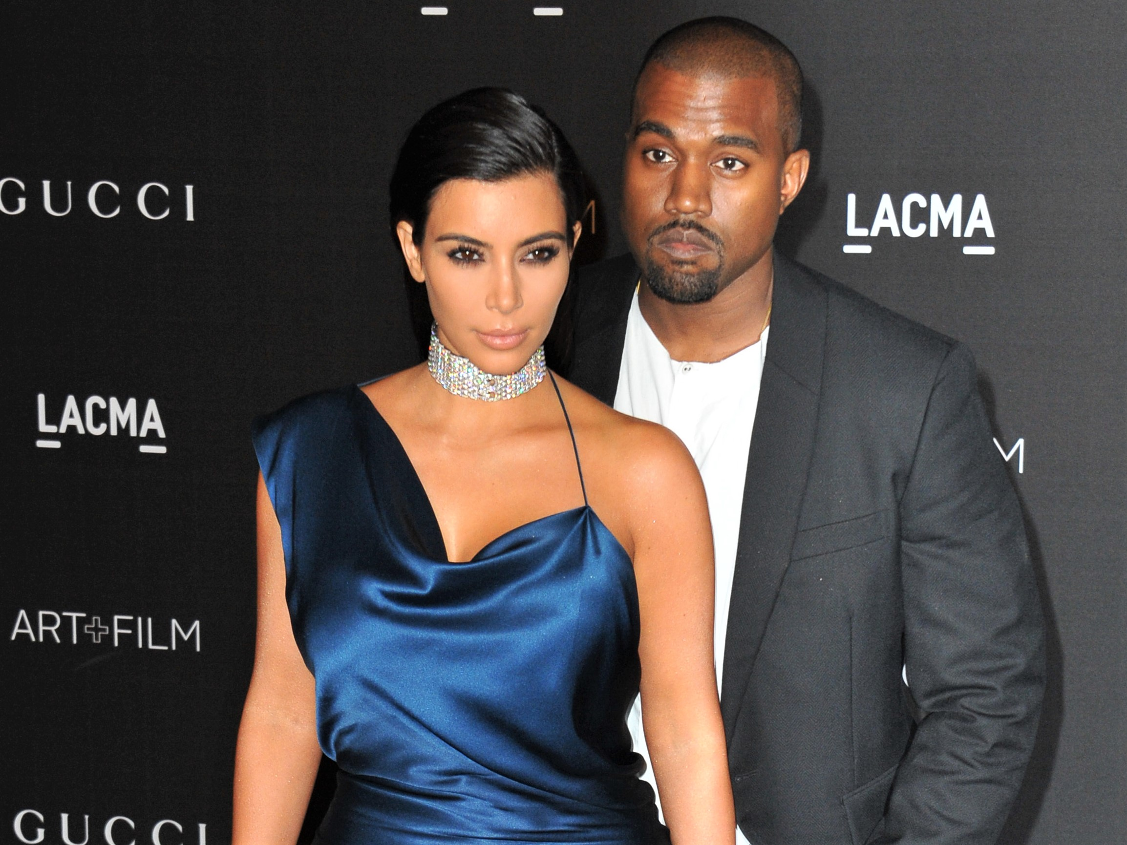 Kim Kardashian West and Kanye West Blue Silk Dress
