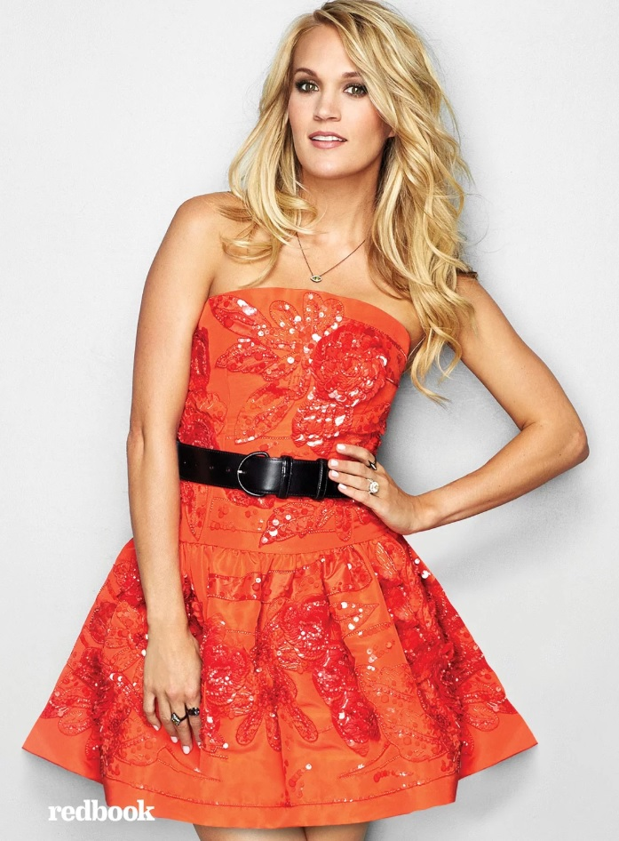 REDBOOK carrie underwood red dress