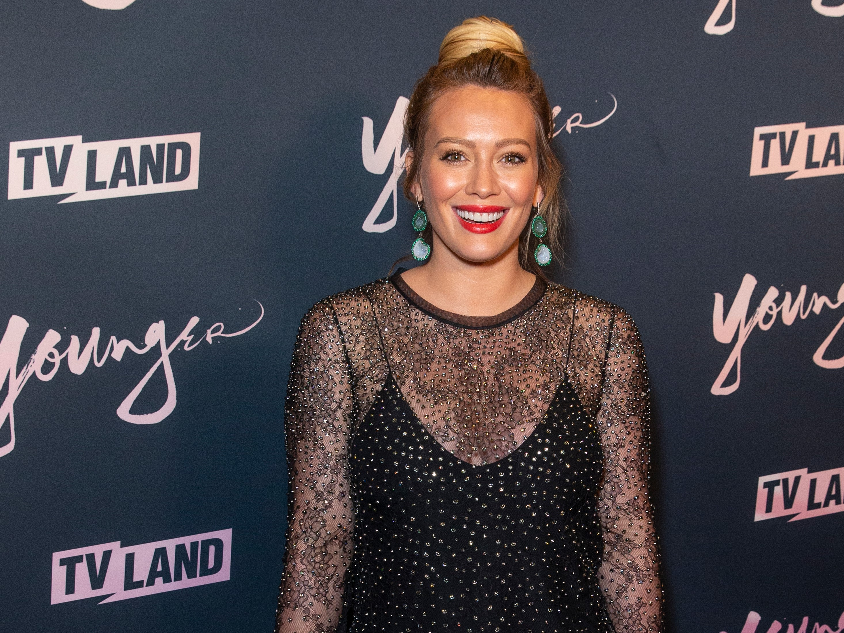 Hilary Duff Hair Bun Black Dress Younger TV Land Red Carpet