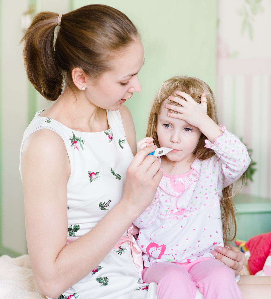 Quizler Cold or Flu Not So Sure Result Mom Uses Thermometer On Daughter Hands Up