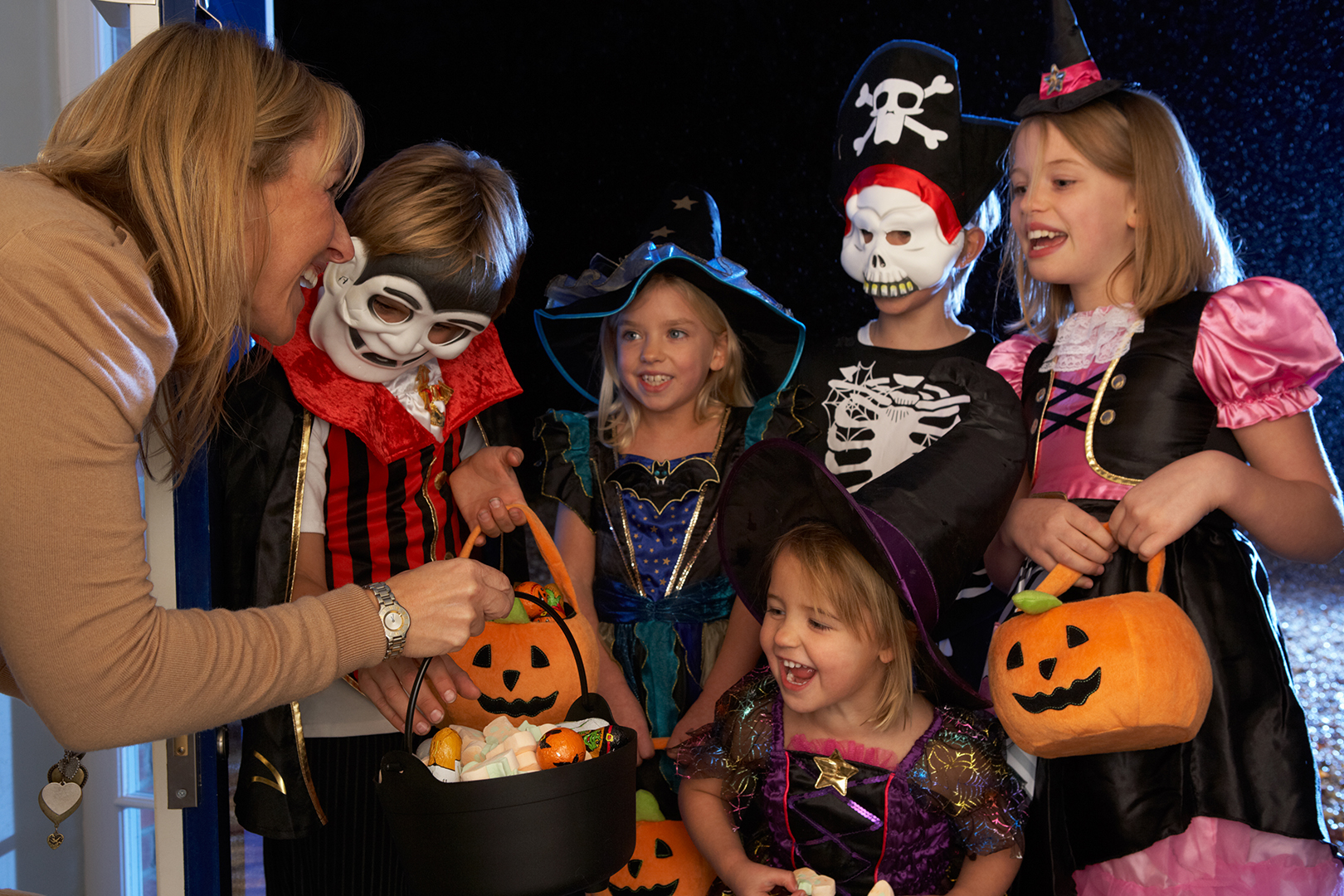 Kids Dressed Up For Trick-Or-Treating