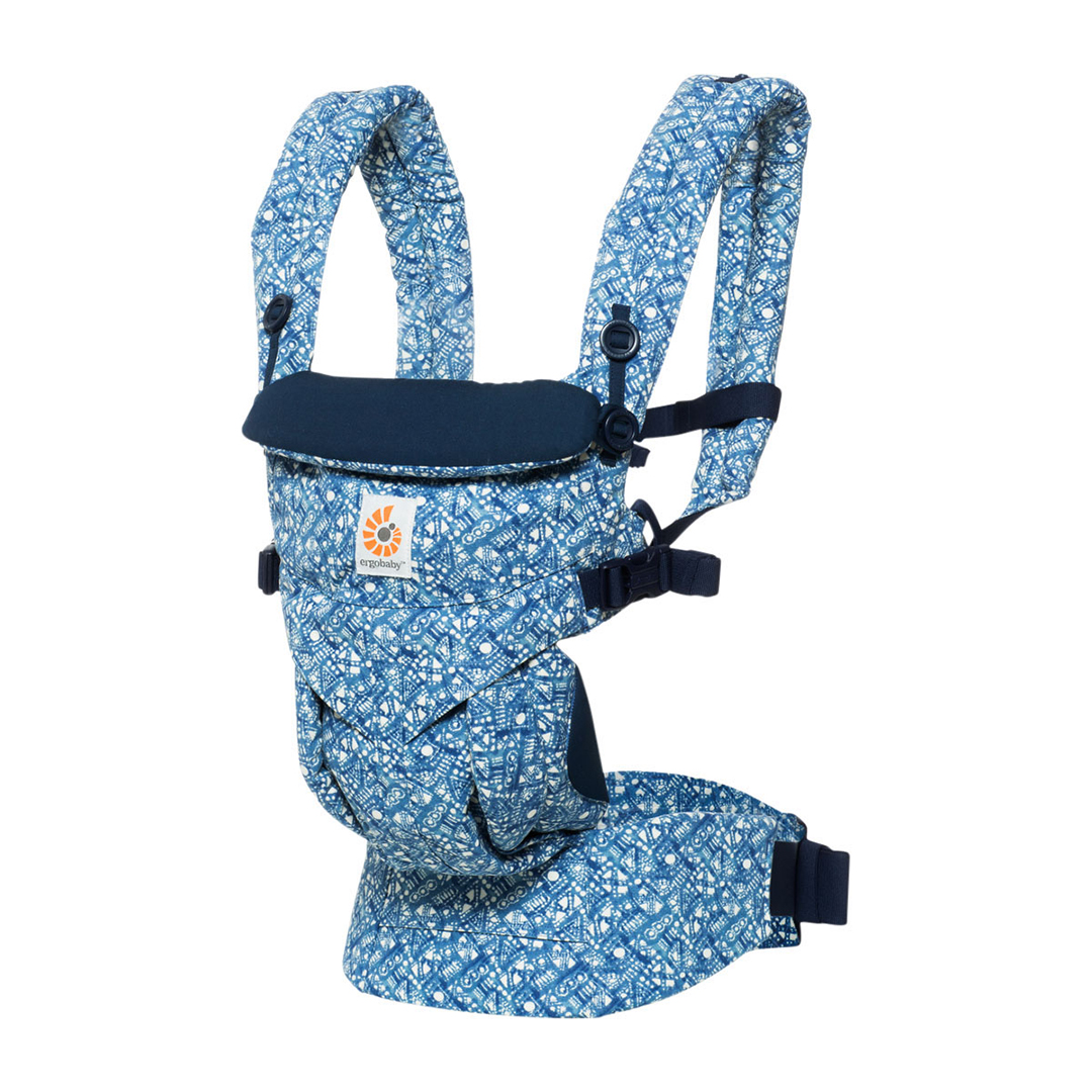 blue patterned ergobaby omni 360 baby carrier