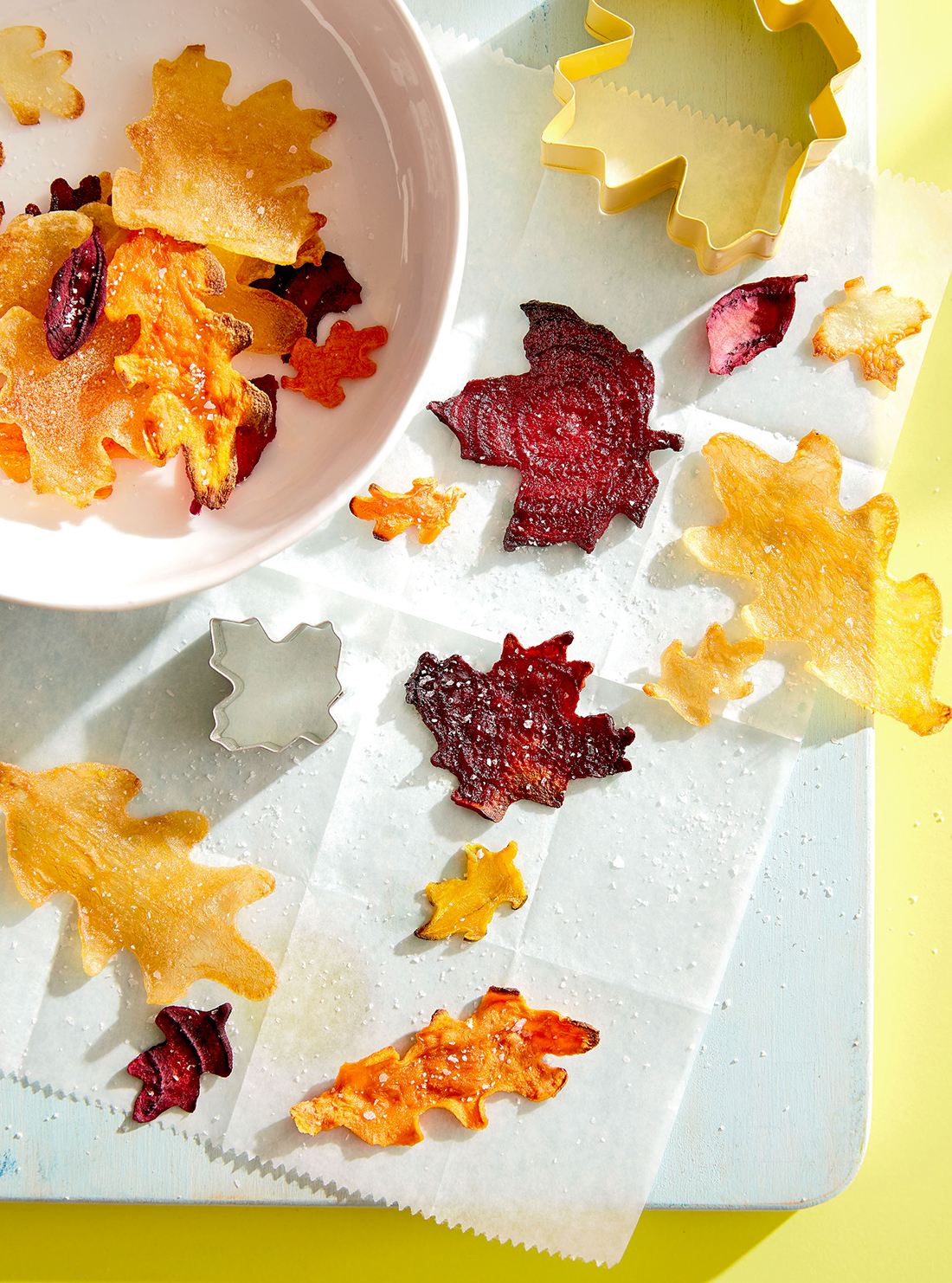 cookie-cutter vegetable leaf chips