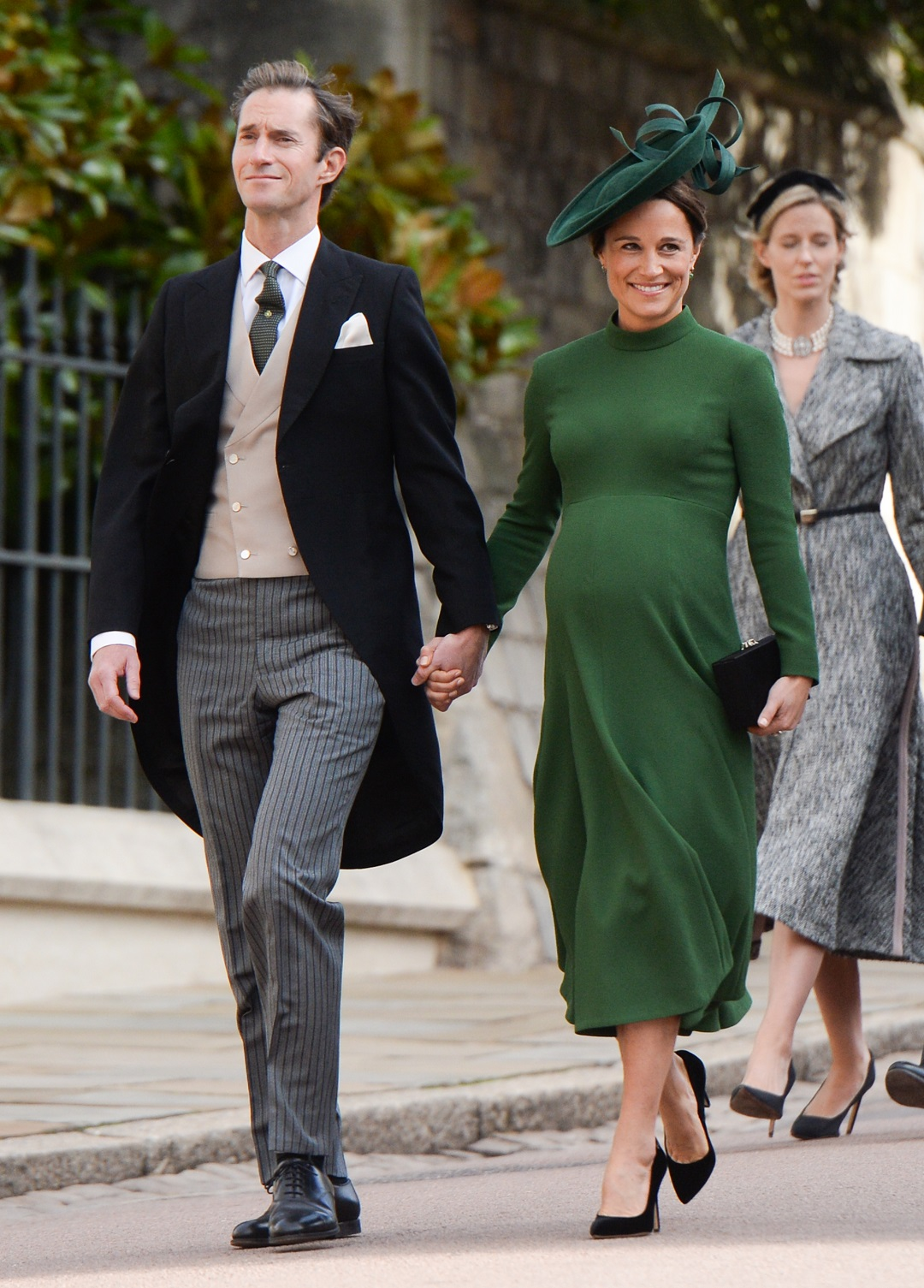 Pregnant Pippa Middleton Green Dress and Husband James Matthews