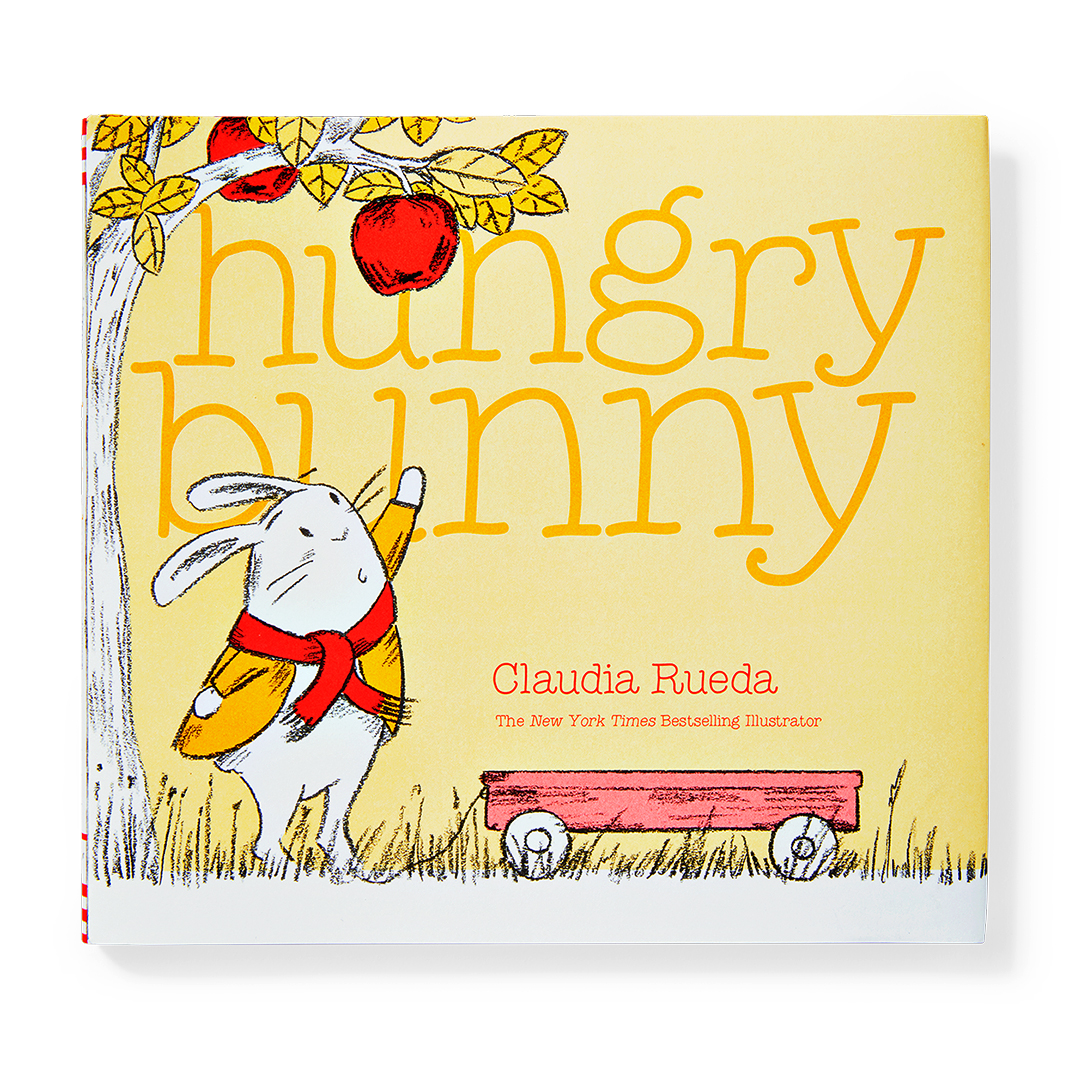 Hungry Bunny yellow book with rabbit and tree