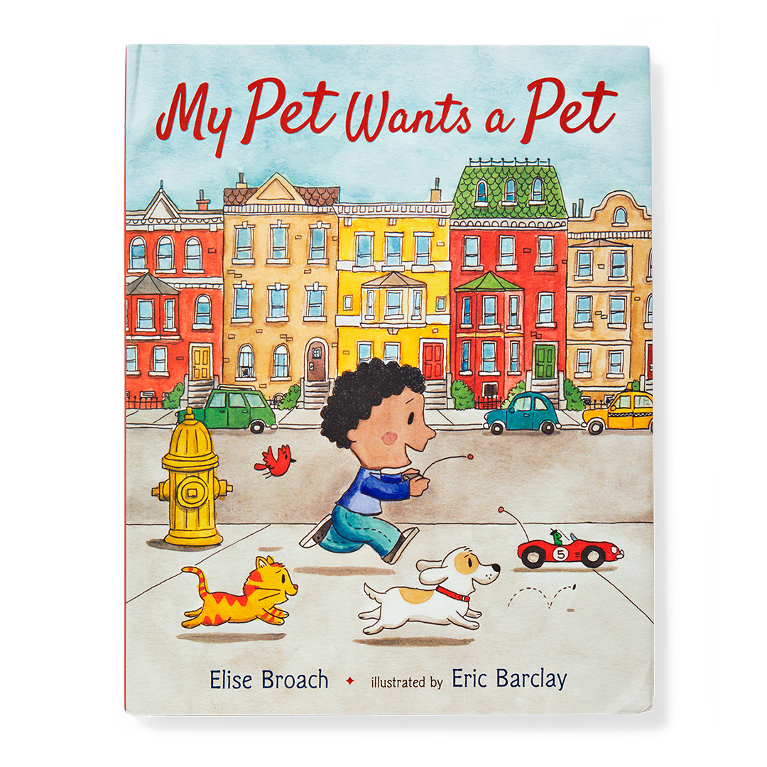 My Pet Wants a Pet book boy with dog and cat chasing toy car