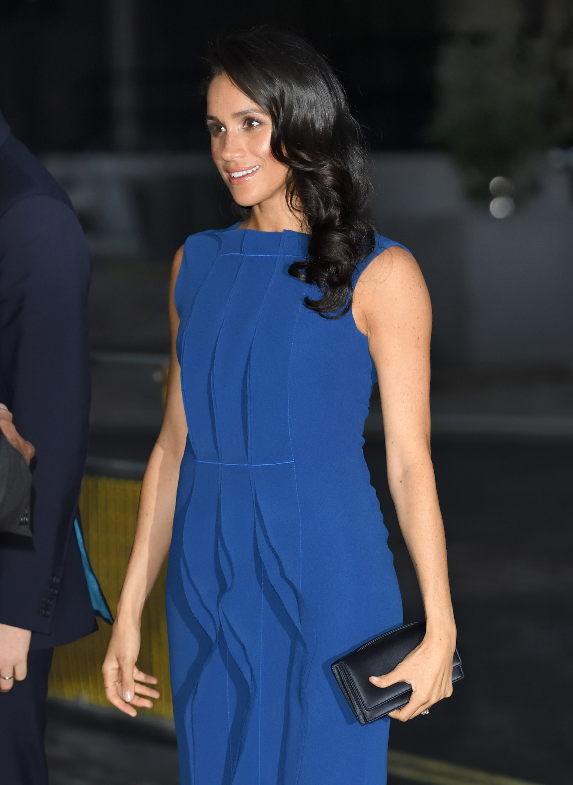 Meghan Markle in Blue Ruffled Dress