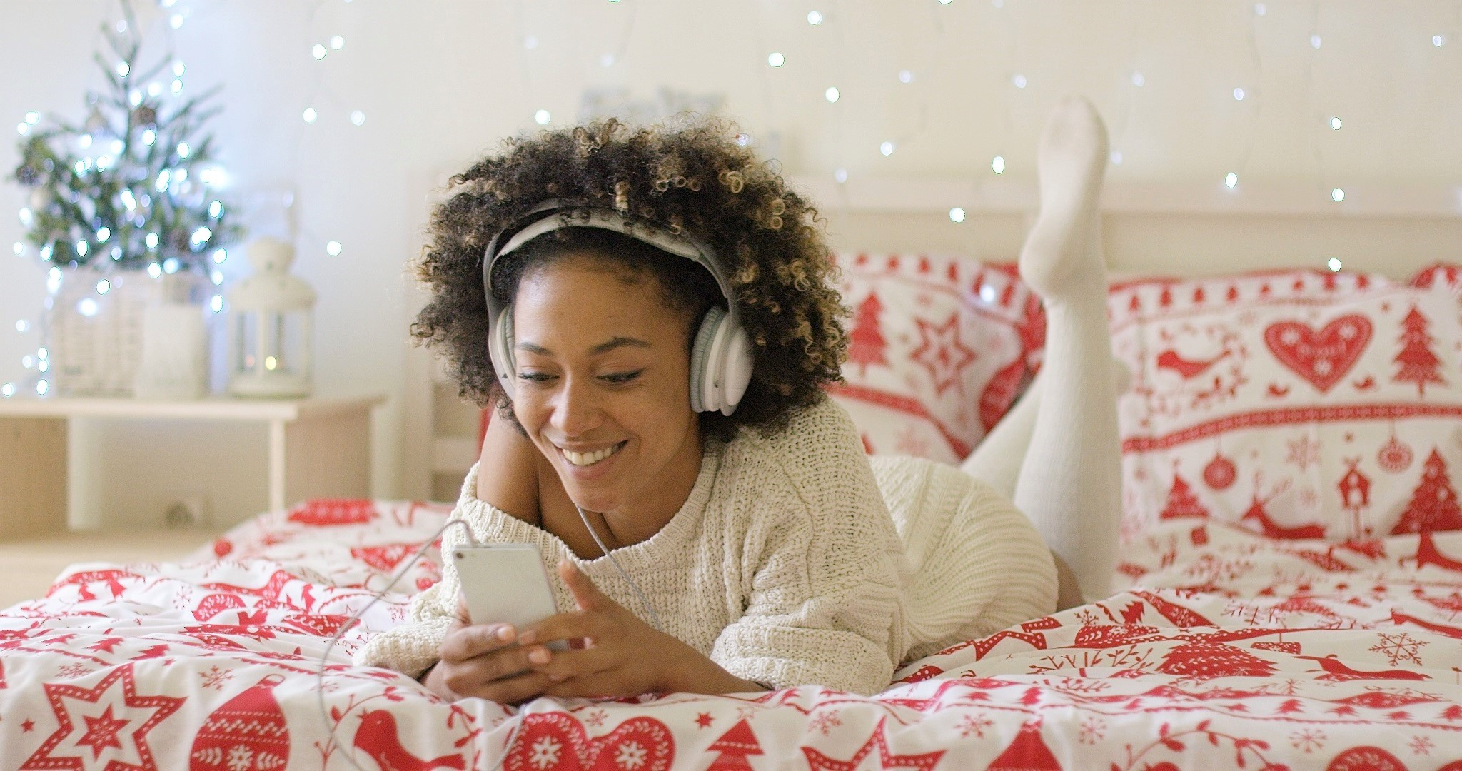 African American Girl Listening to Music on Headphones Christmas Decor
