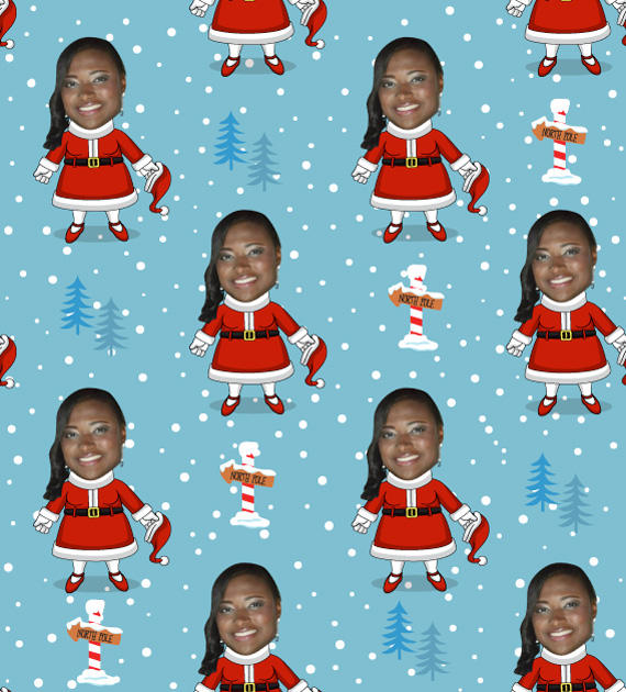 Gift Wrap My Face Mrs Claus Wrapping Paper