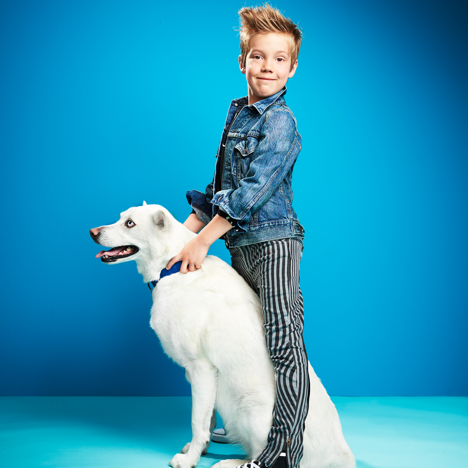 boy wearing denim jacket standing over white alaskan husky