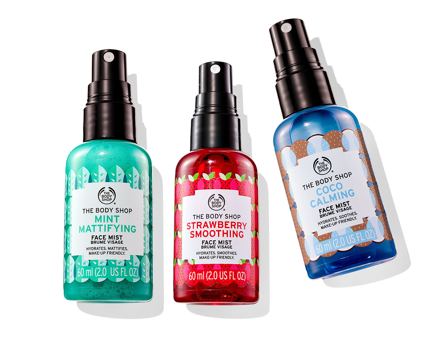 The body shop three face mists mint strawberry and coco