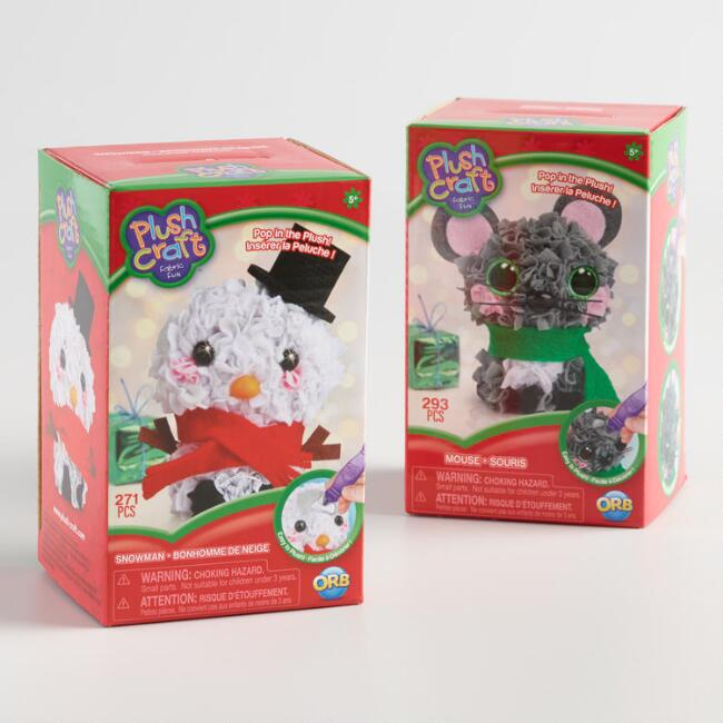 Mini Plush Snowman And Mouse Fabric By Number Kits Set Of 2