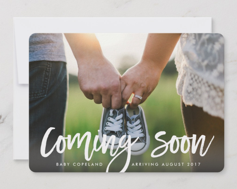 Coming Soon Pregnancy Announcement Card