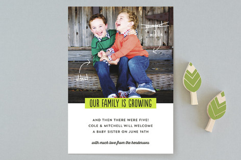 Growing Family Pregnancy Announcement Card
