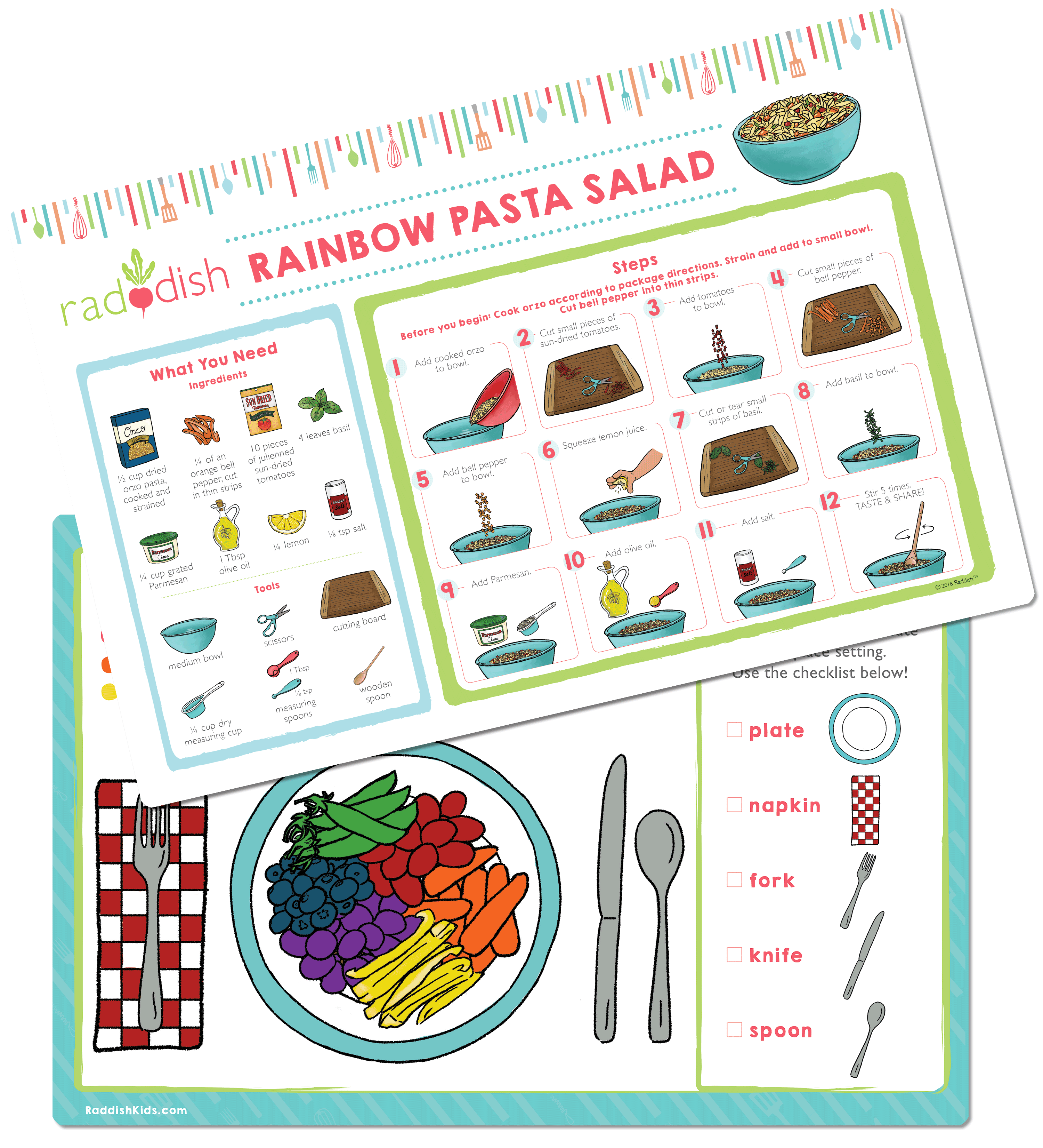 Raddish Cook+Play Rainbow Pasta Salad Placemat