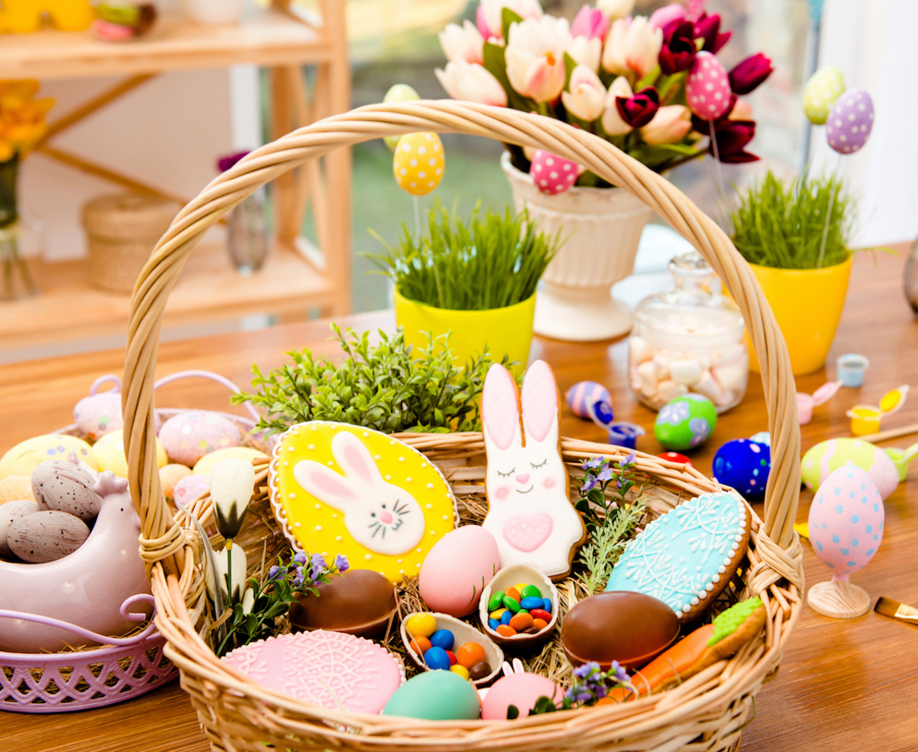 Easter Basket with Candy and Cookies