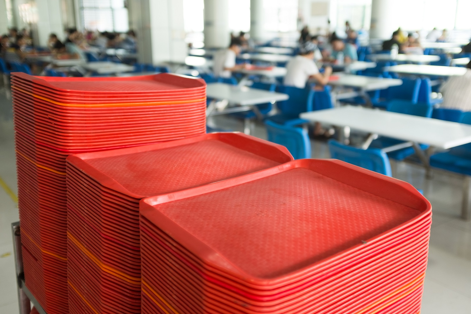 School Cafeteria Red Food Trays Stacked