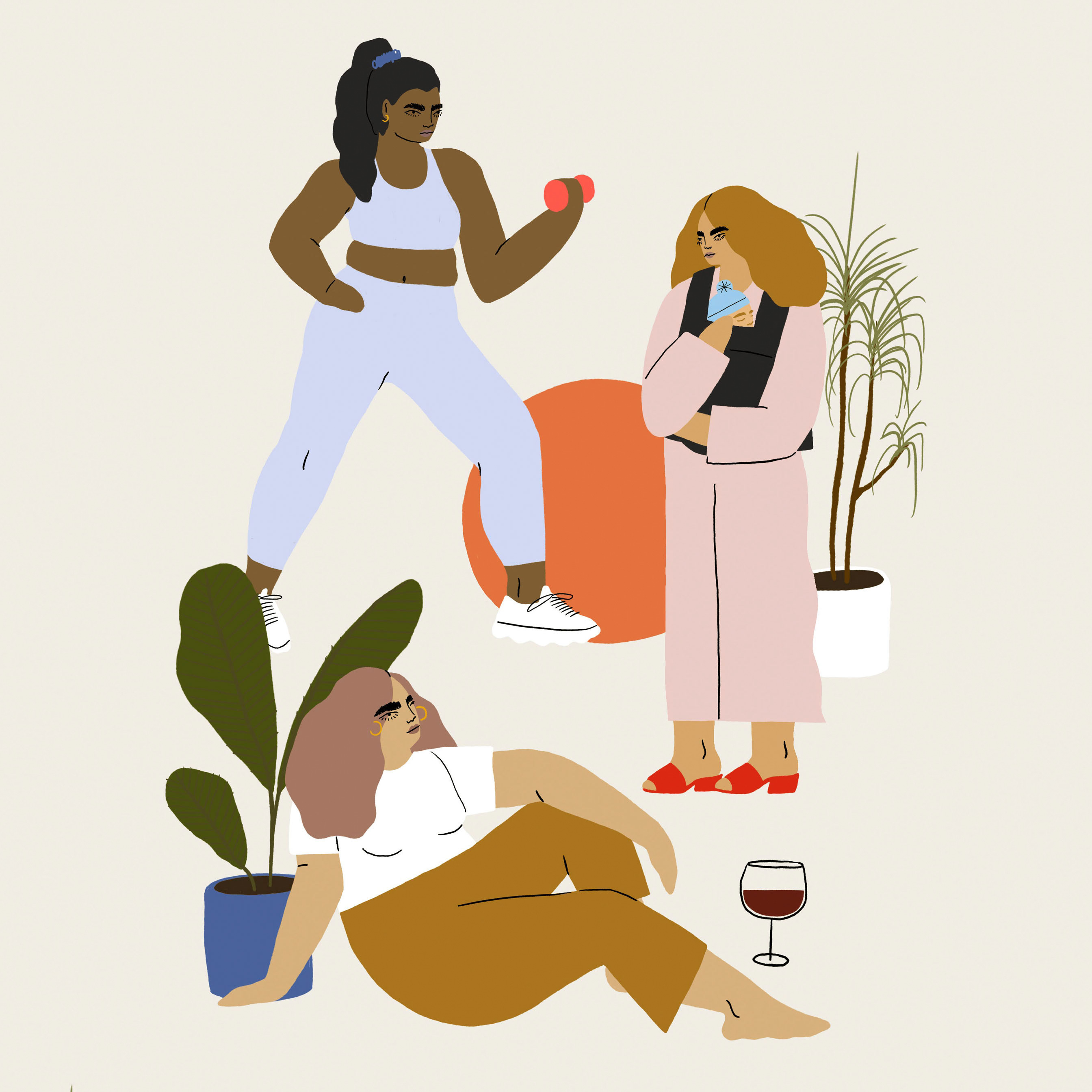illustration of three women working out babywearing drinking wine