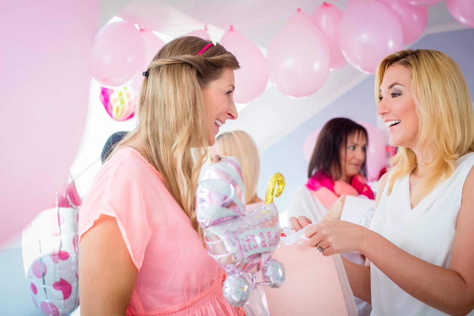 Pink Baby Shower Its A Girl Woman Giving Gift