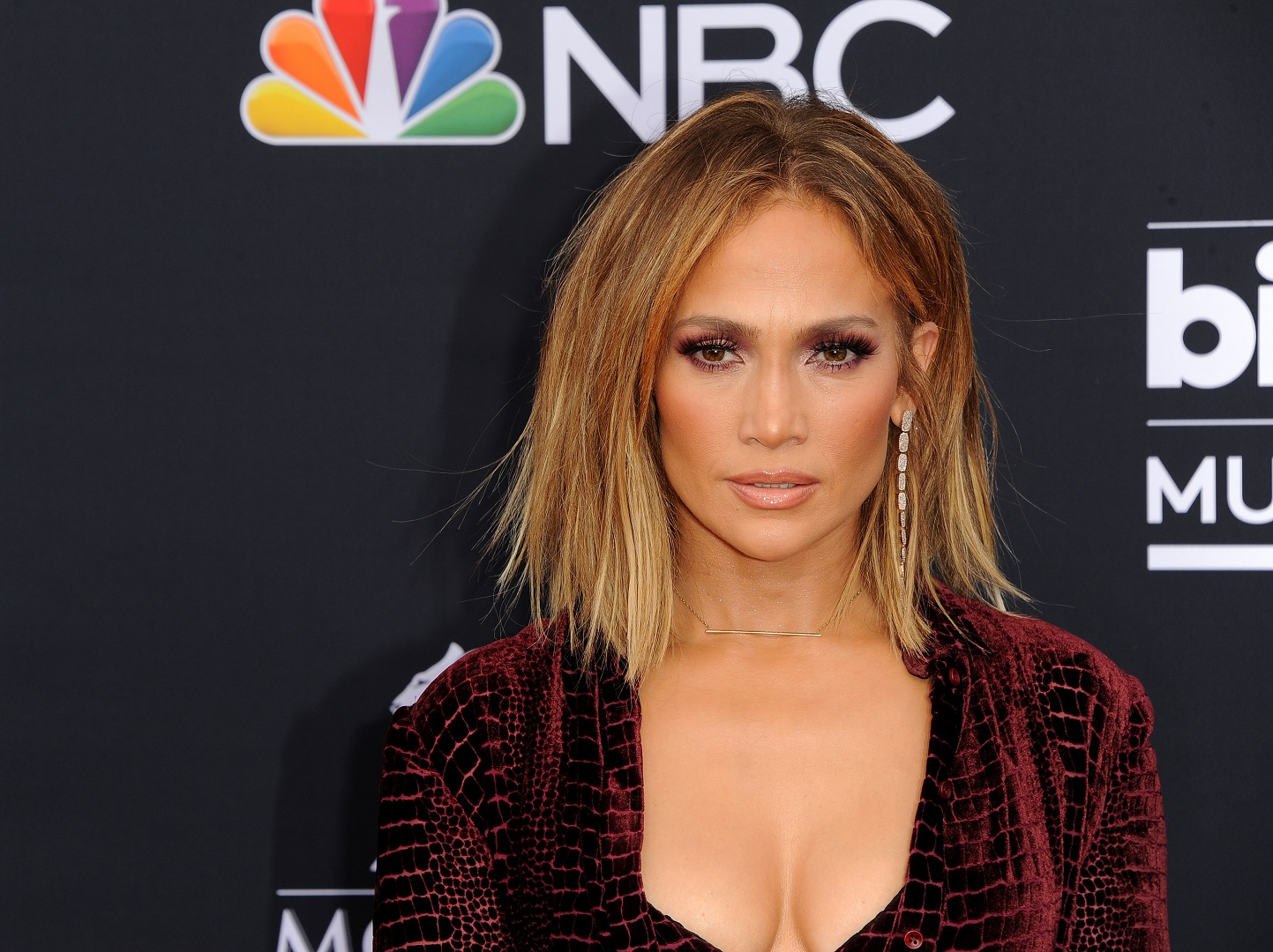 Jennifer Lopez Dark Red Outfit Closeup