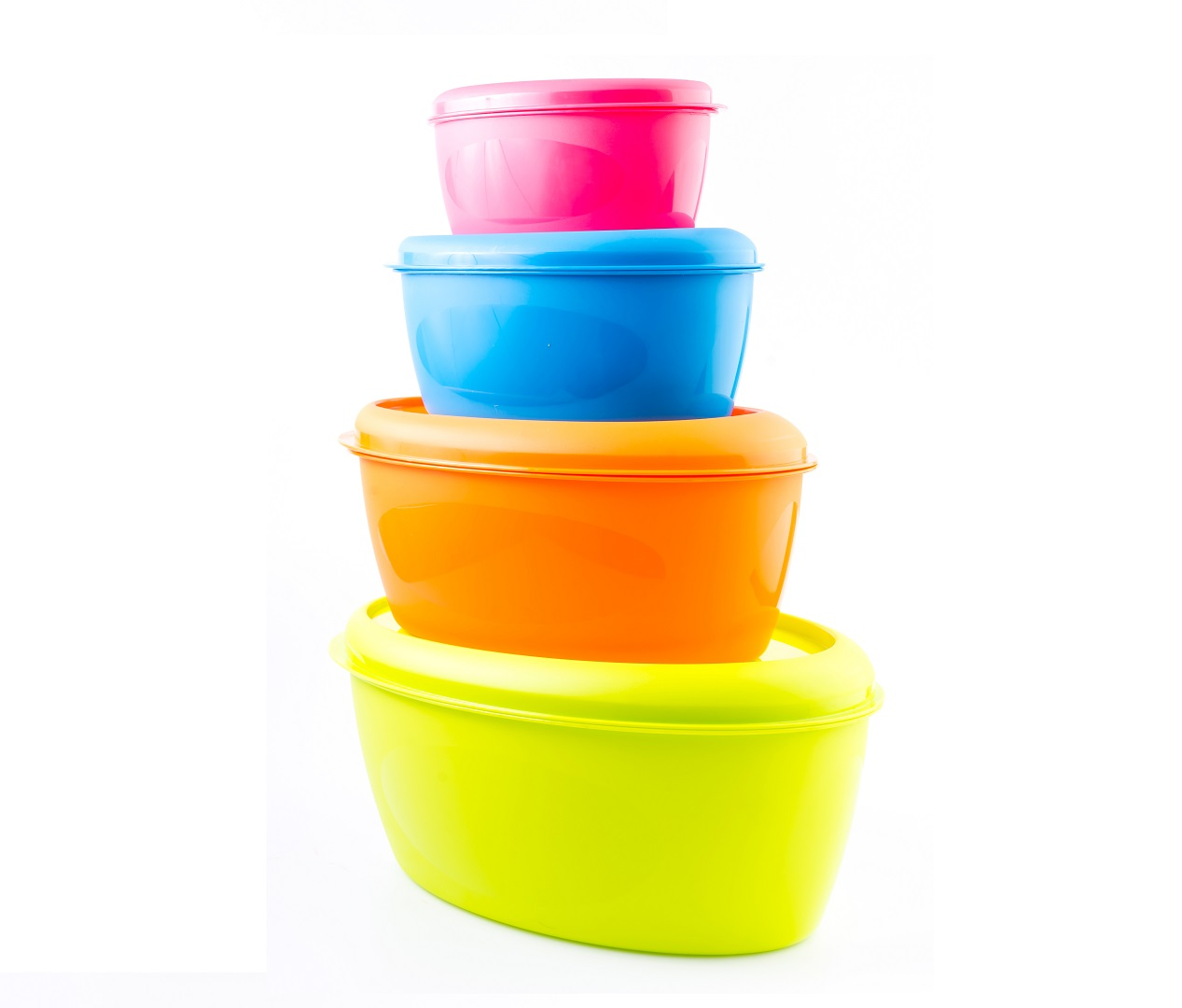 Colorful Tupperware Stacked