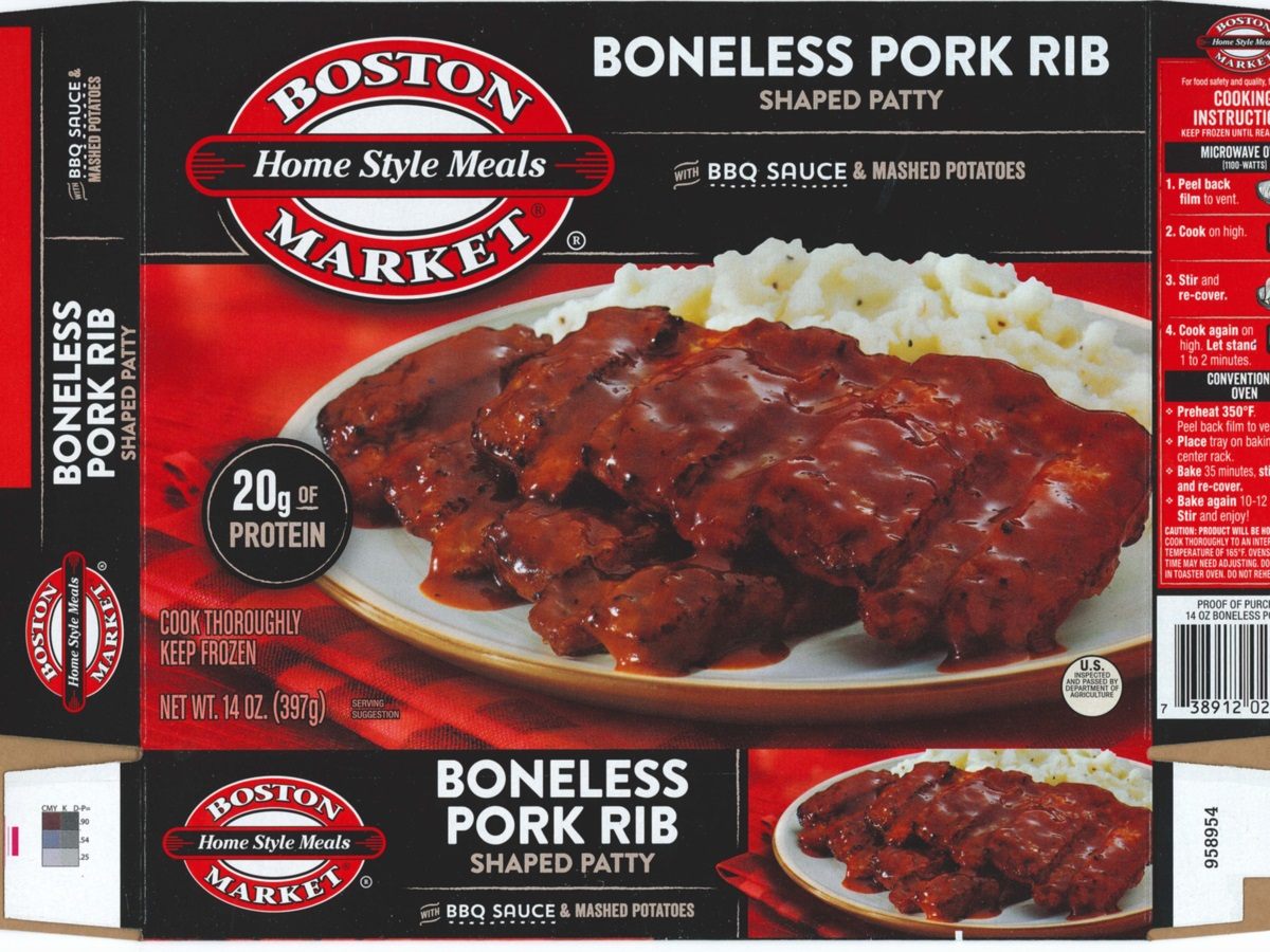 Boston Market Home Style Meals Boneless Pork Rib BBQ Sauce and Mashed Potatoes