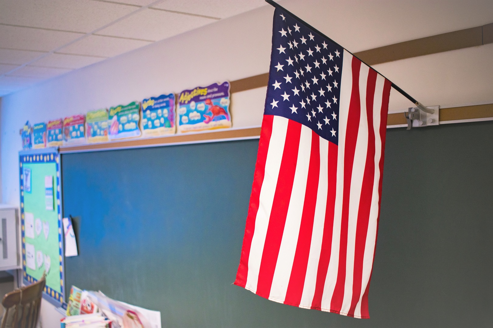American Flag Hanging In Classroom