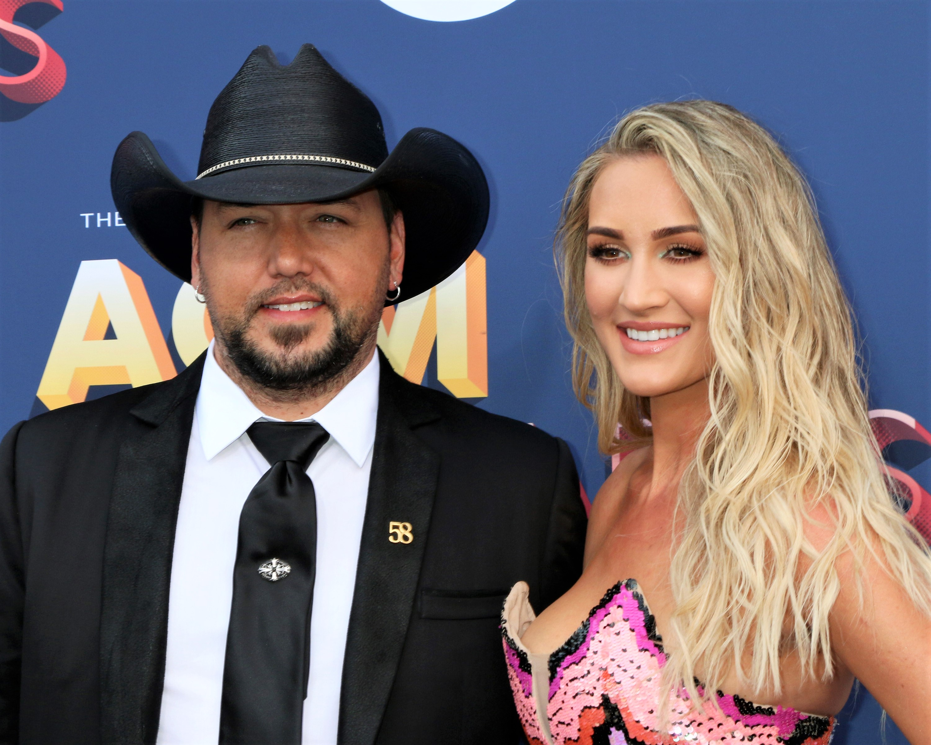 Black Cowboy Hat Jason Aldean and Brittany Kerr Pink Dress