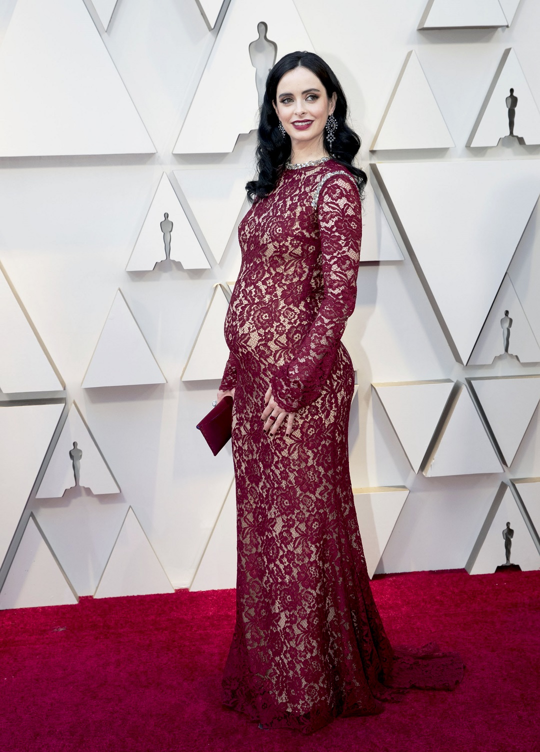 Krysten Ritter Pregnant Red Lace Gown Oscars 2019