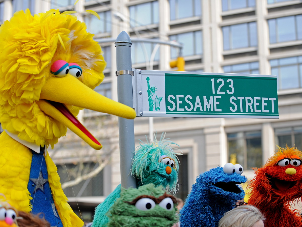 New York Street Sign 123 Sesame Street Big Bird Cookie Monster and Friends