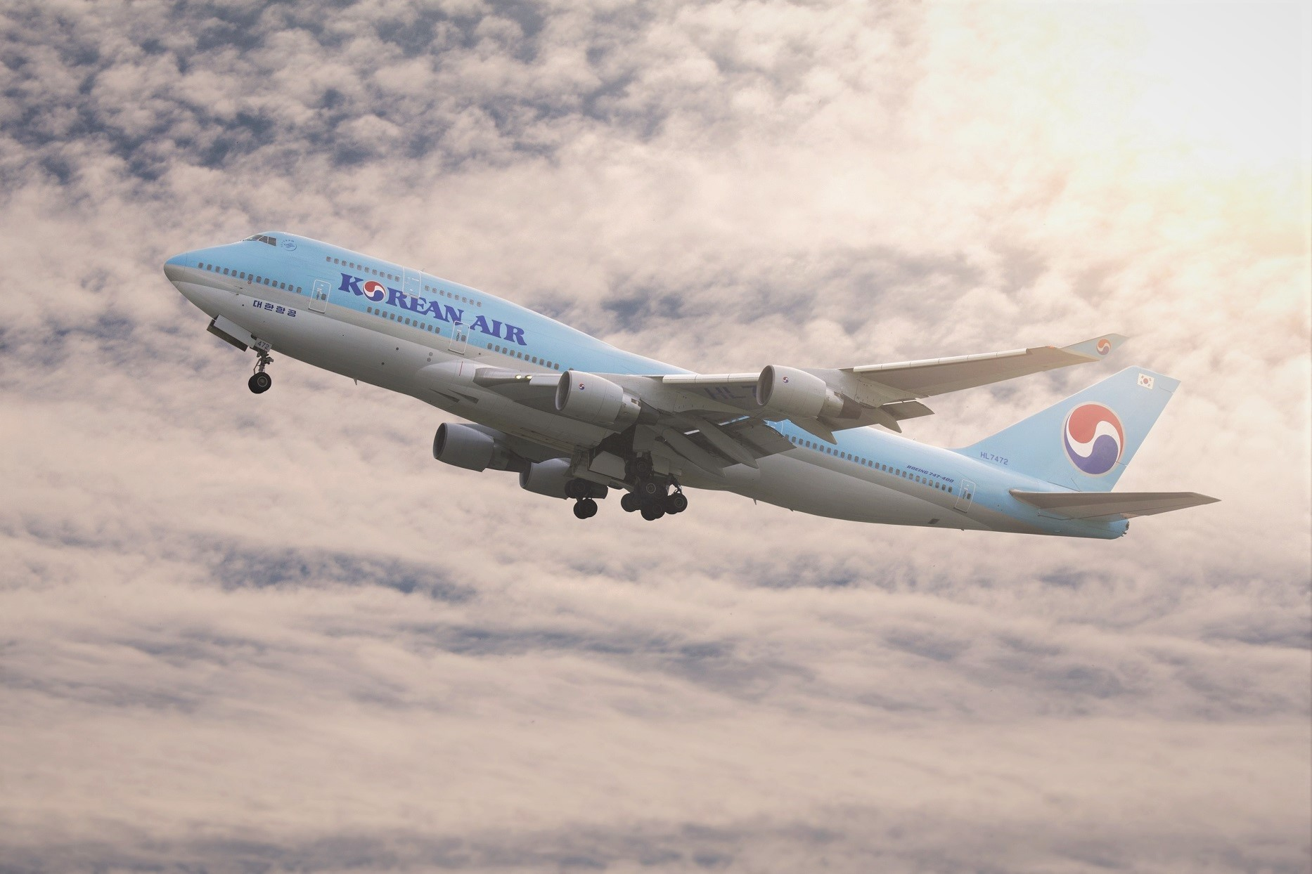 Korean Air Airlines Plane Flying Clouds
