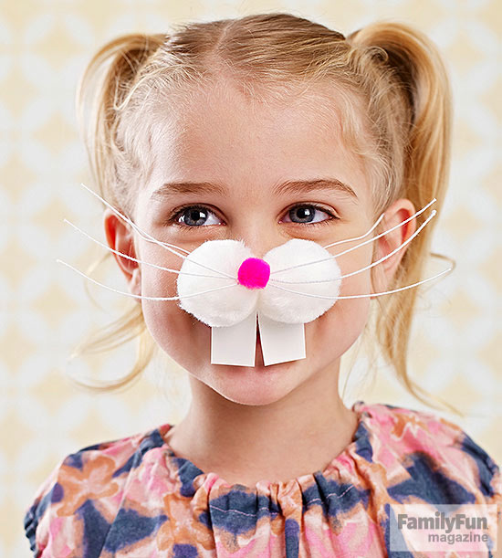 Child wearing bunny mask