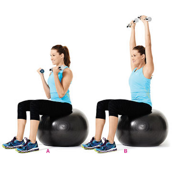 Postpartum Curl to Press Exercise