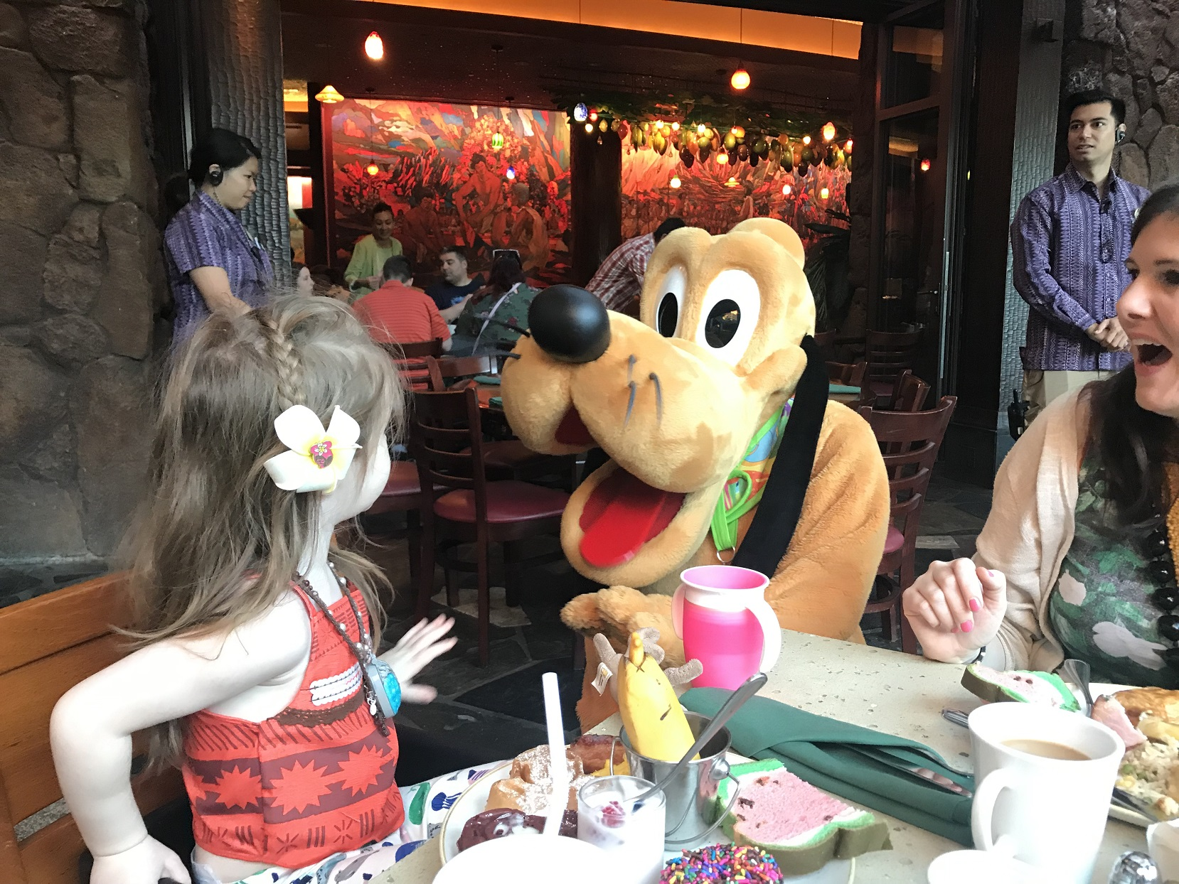 Julia Dennison Daughter Ezzie with Pluto Character Breakfast