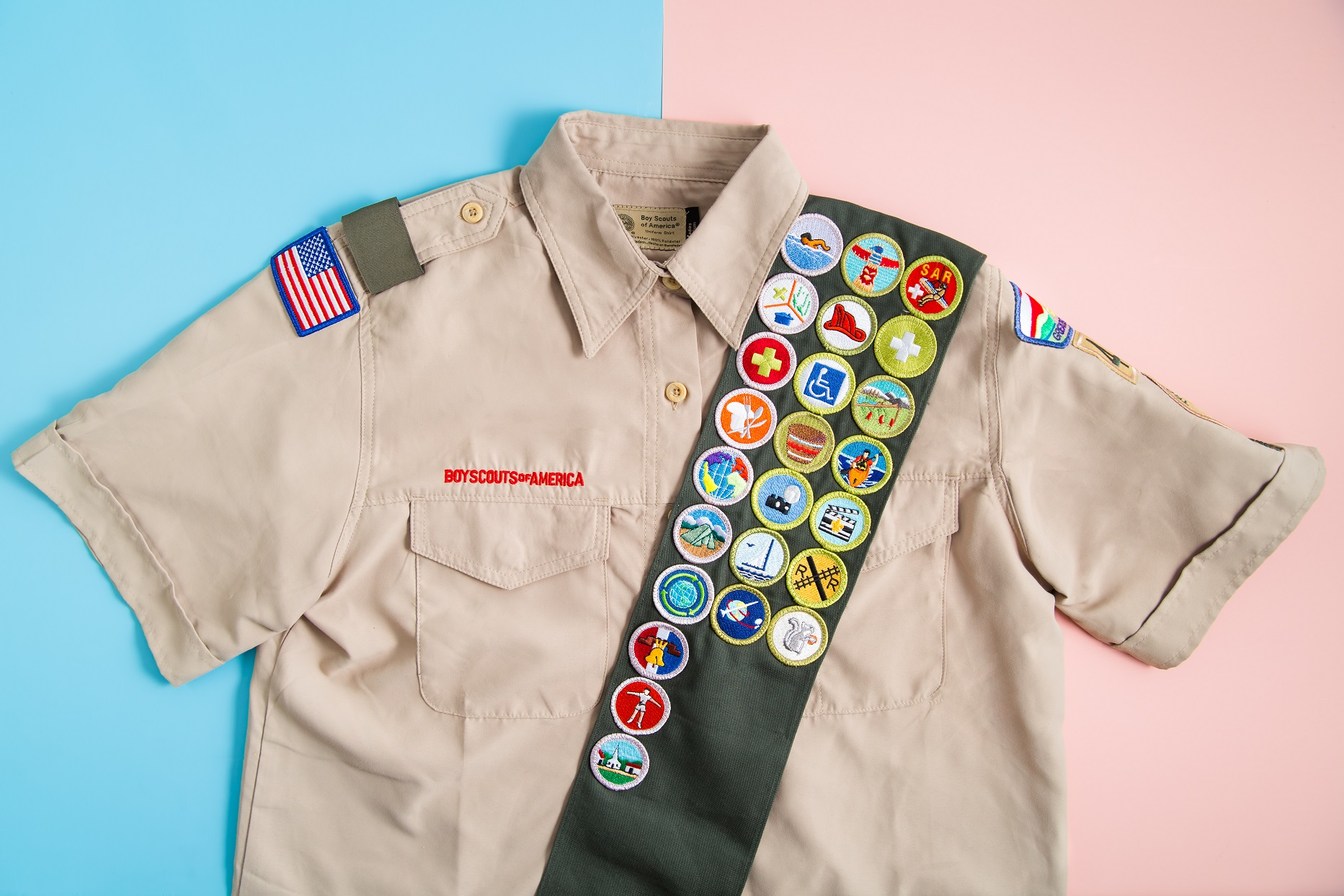 Scouts BSA Uniform Boy Scouts of America Shirt Blue and Pink Background