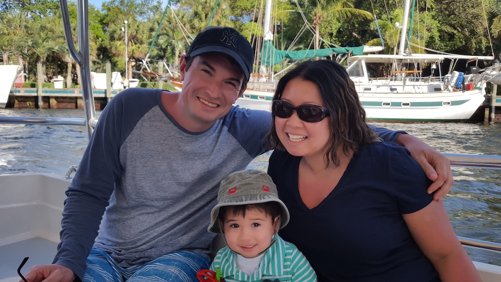 Chris Dale poses with his wife and son.