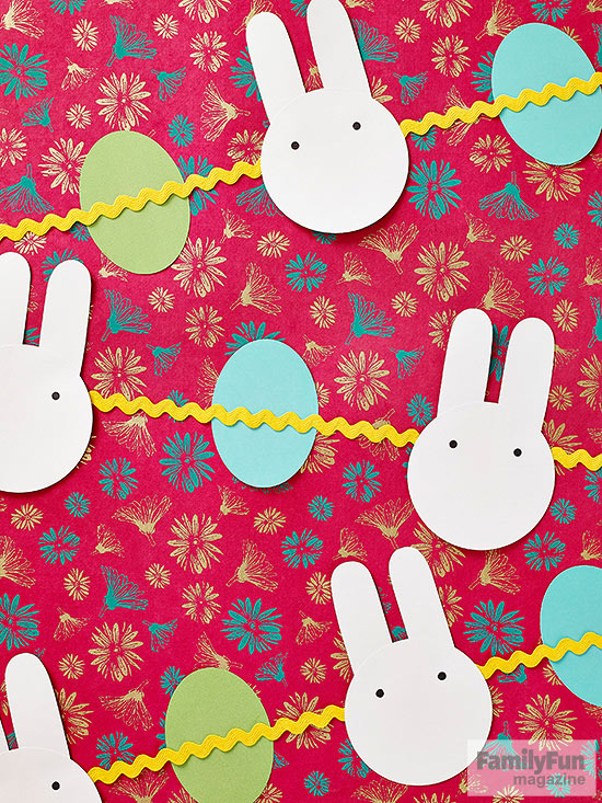 Bunny and egg garland strung on rickrack