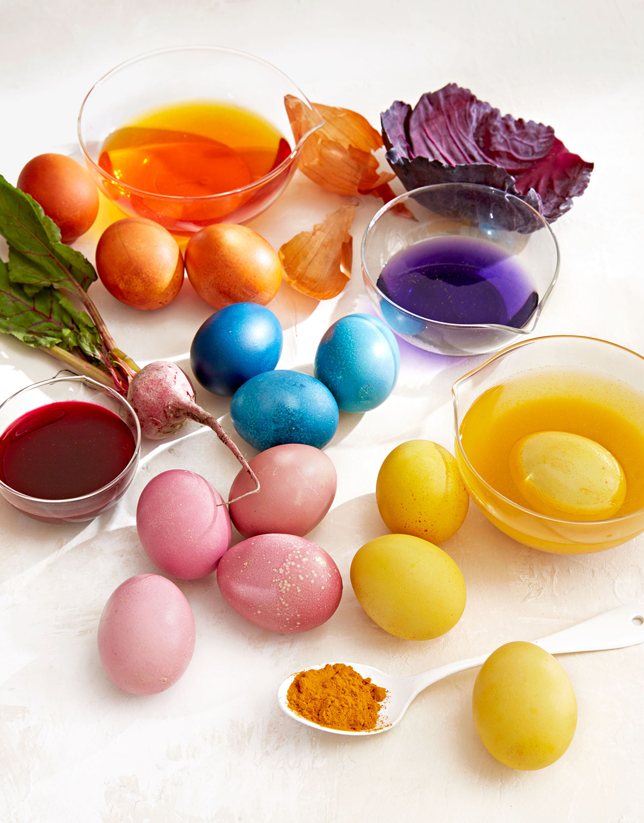 blue red yellow orange easter egg color dye mixes