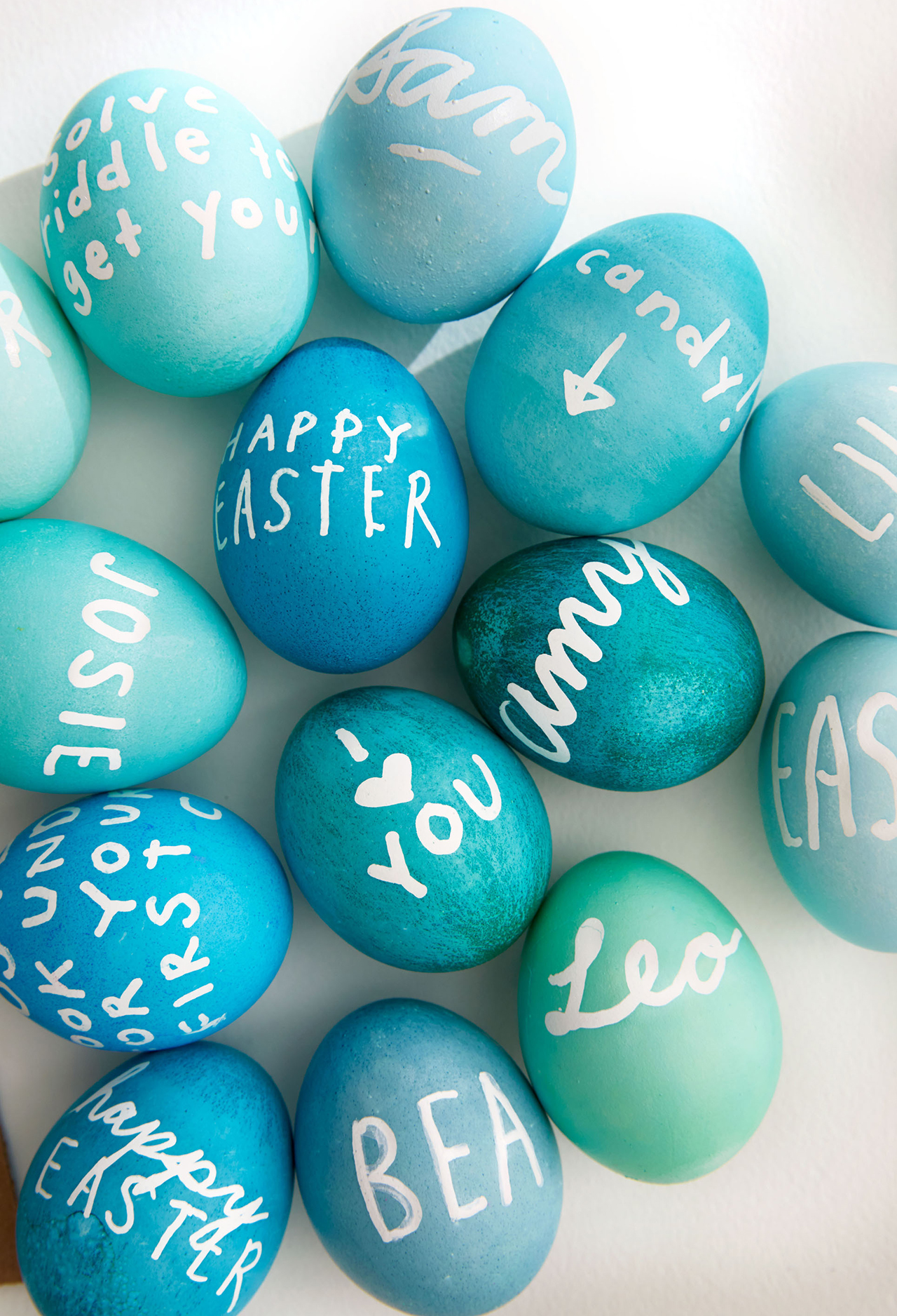blue shaded easter eggs with white writing