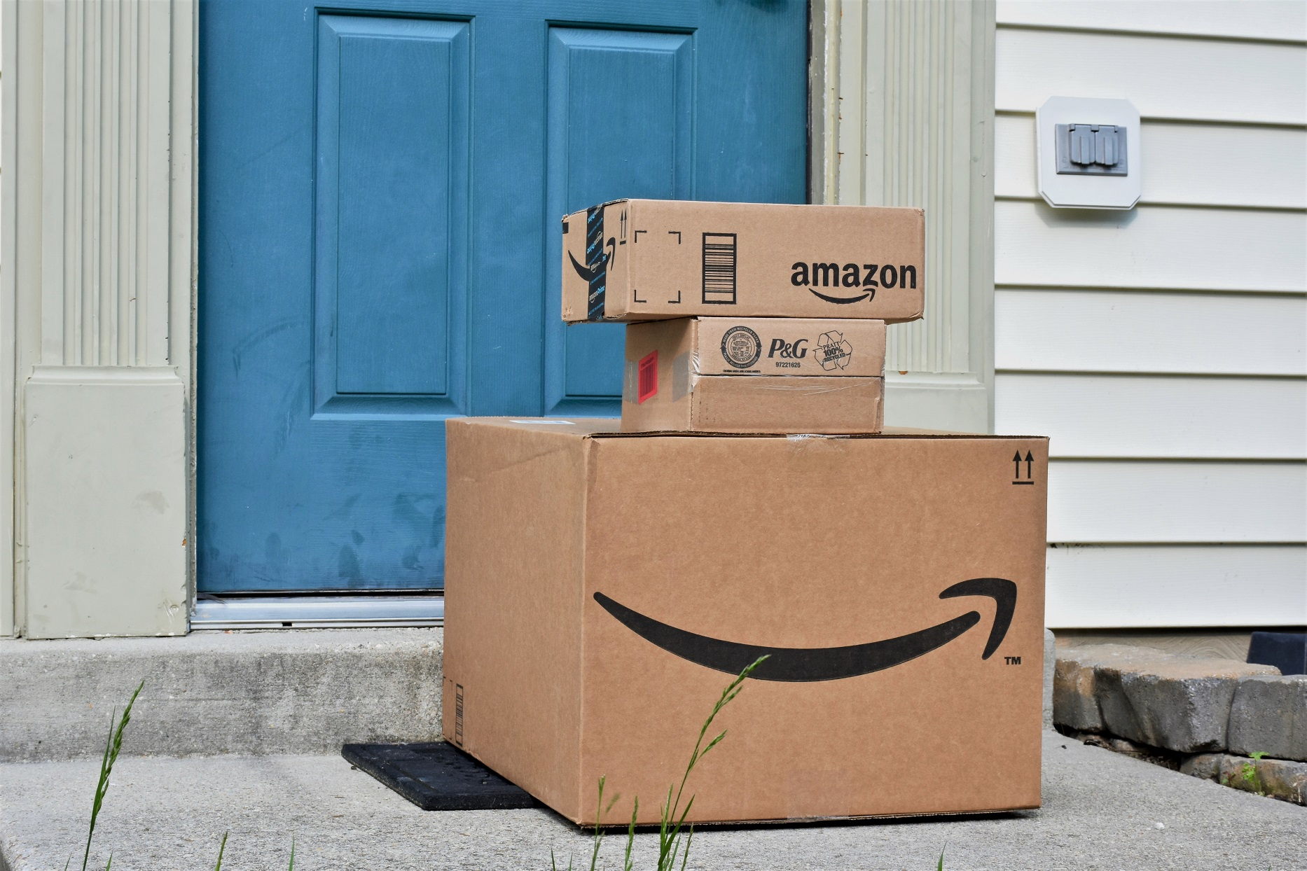 Amazon Prime Boxes on Front Door Step
