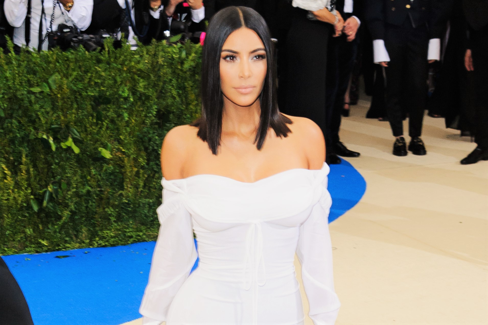 Kim Kardashian West White Dress Short Black Hair