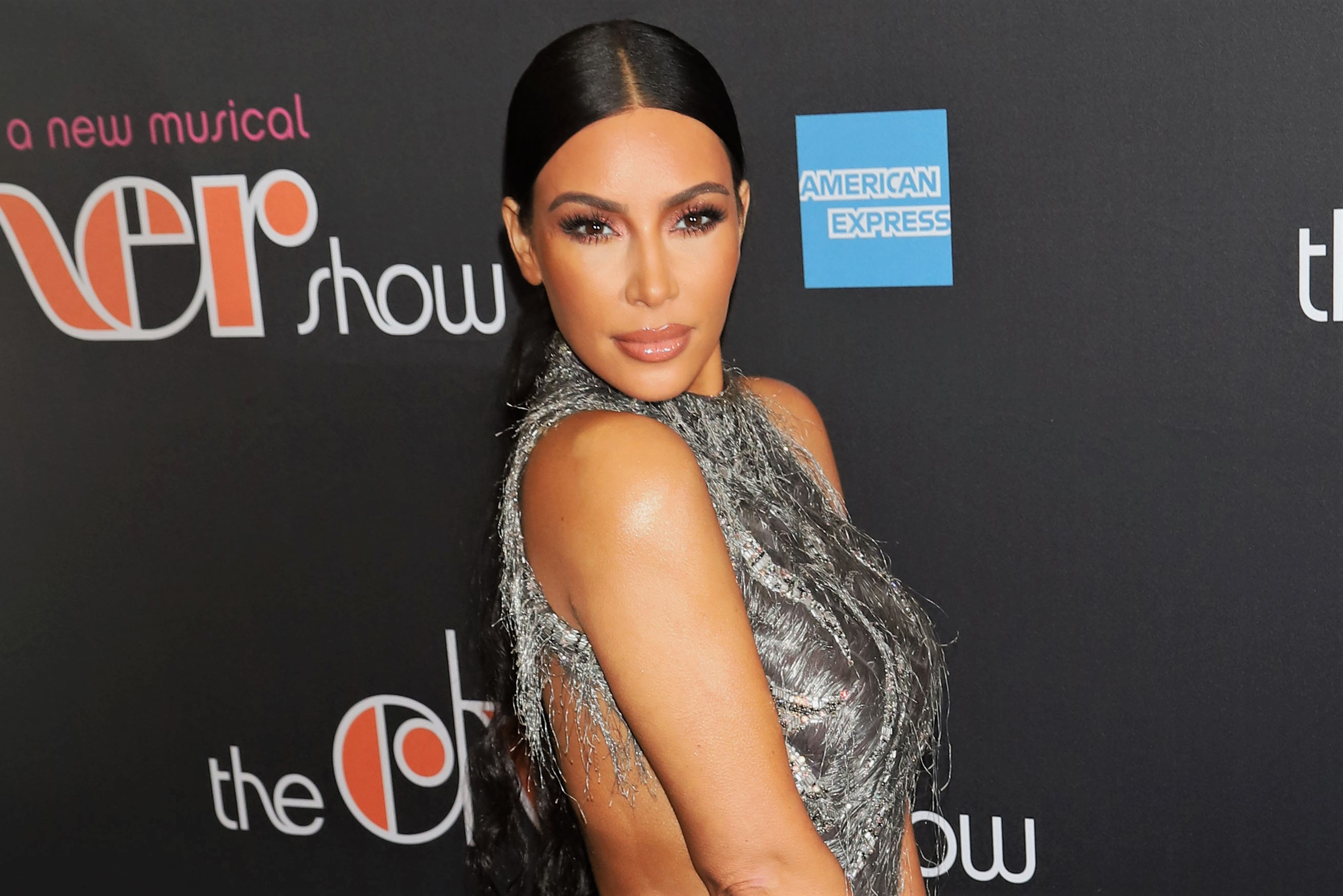 Kim Kardashian West Slicked Back Ponytail Silver Dress