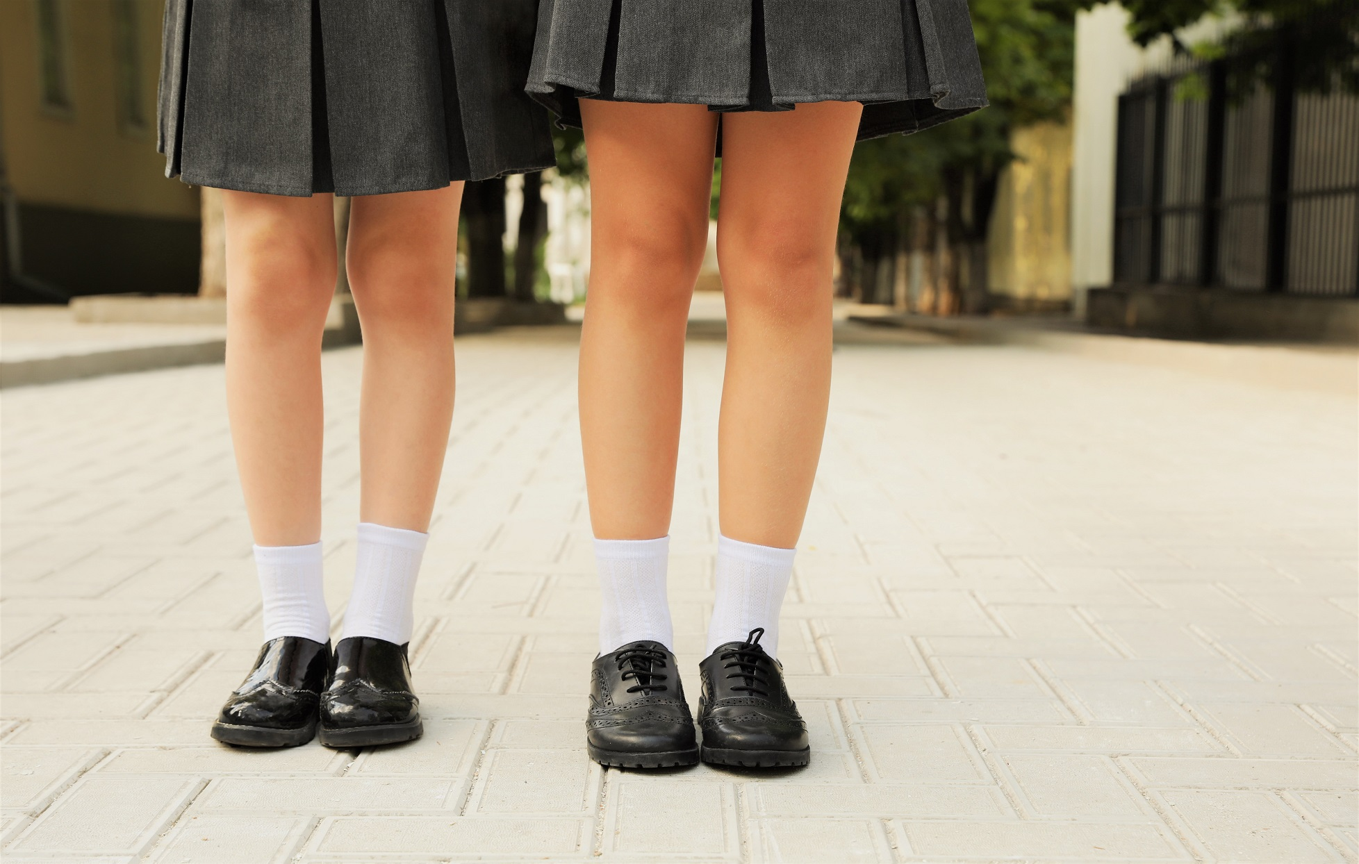 School Girls Uniform Skirt Legs Socks Black Shoes