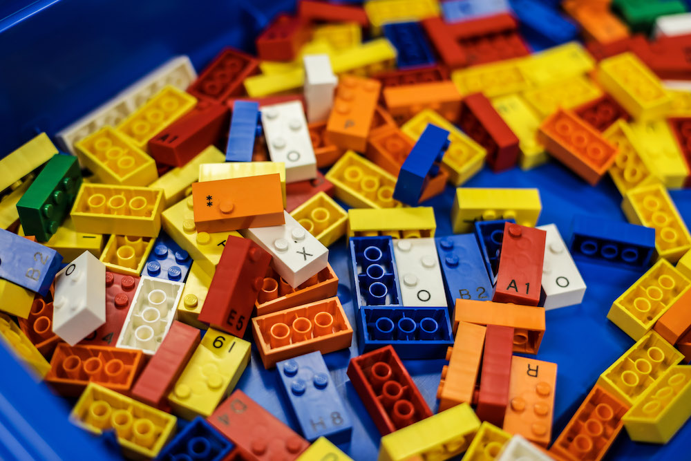 Lego Braille Bricks scattered