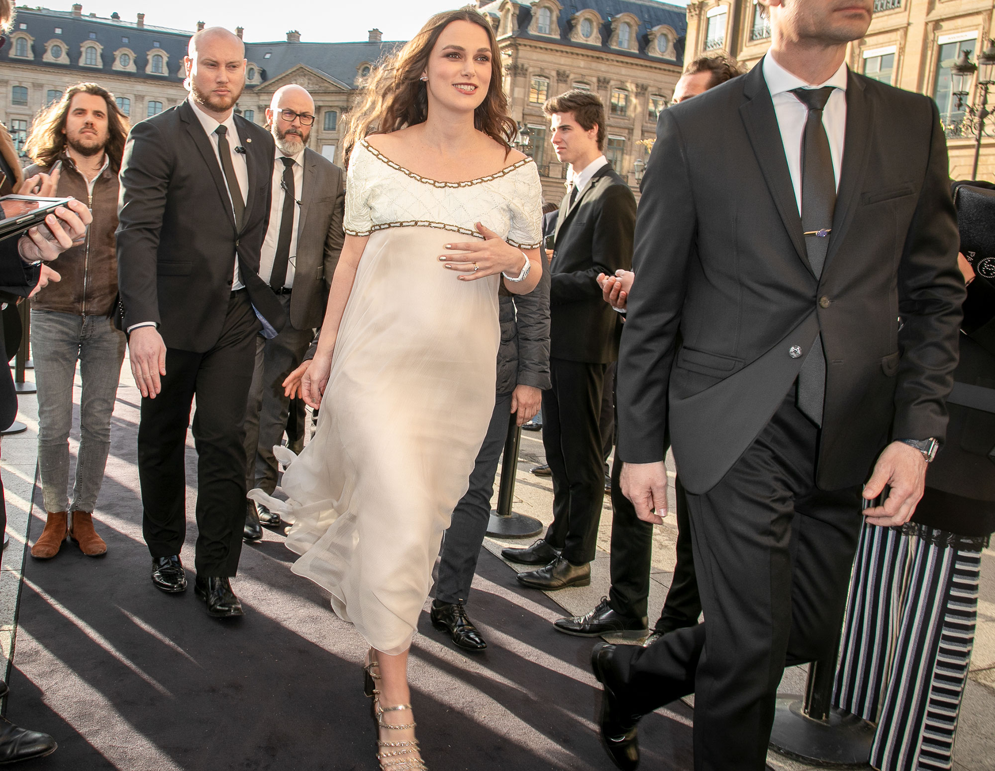 Keira Knightley Walking in Paris France Cream Dress