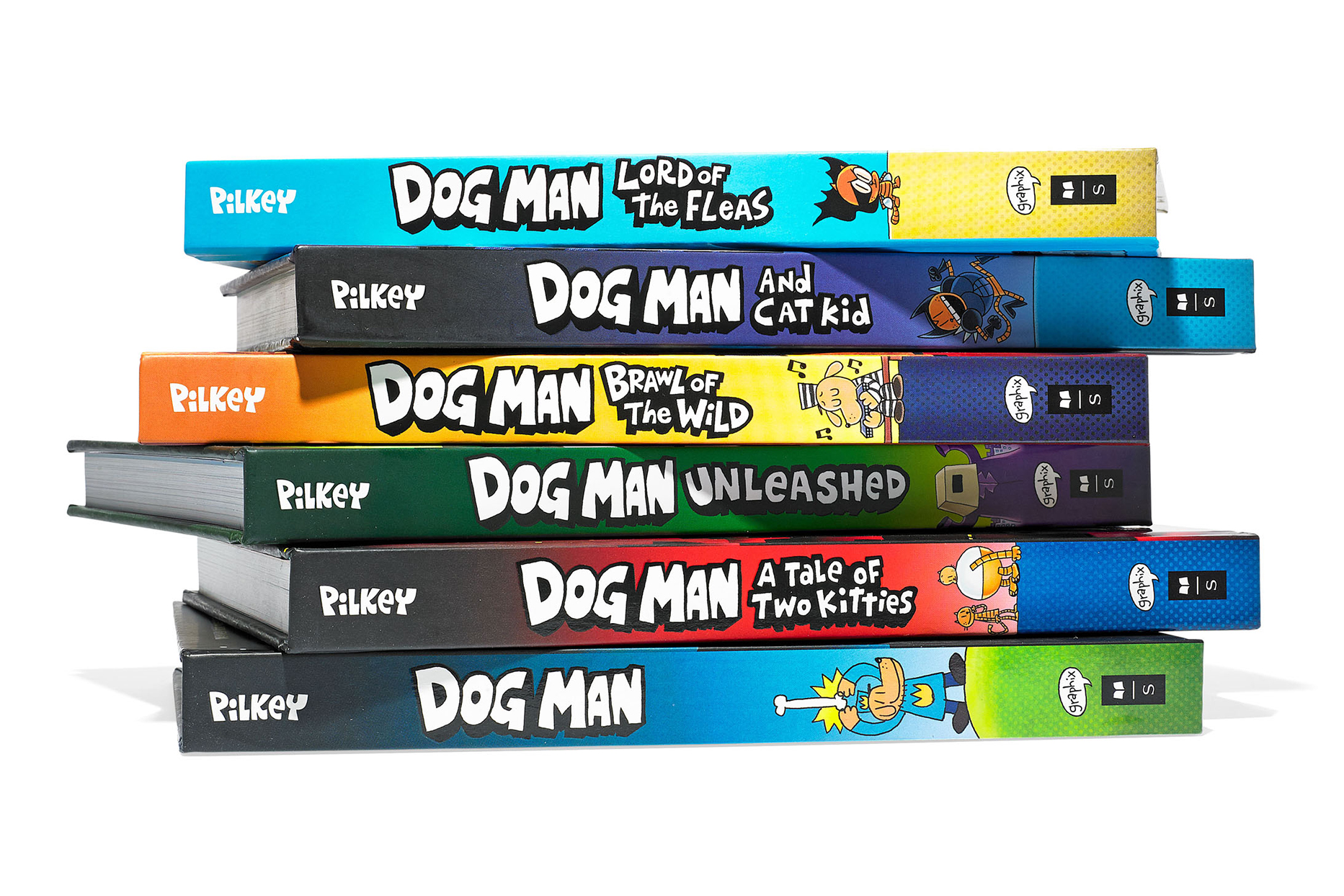 colorful stack of dog man comic books
