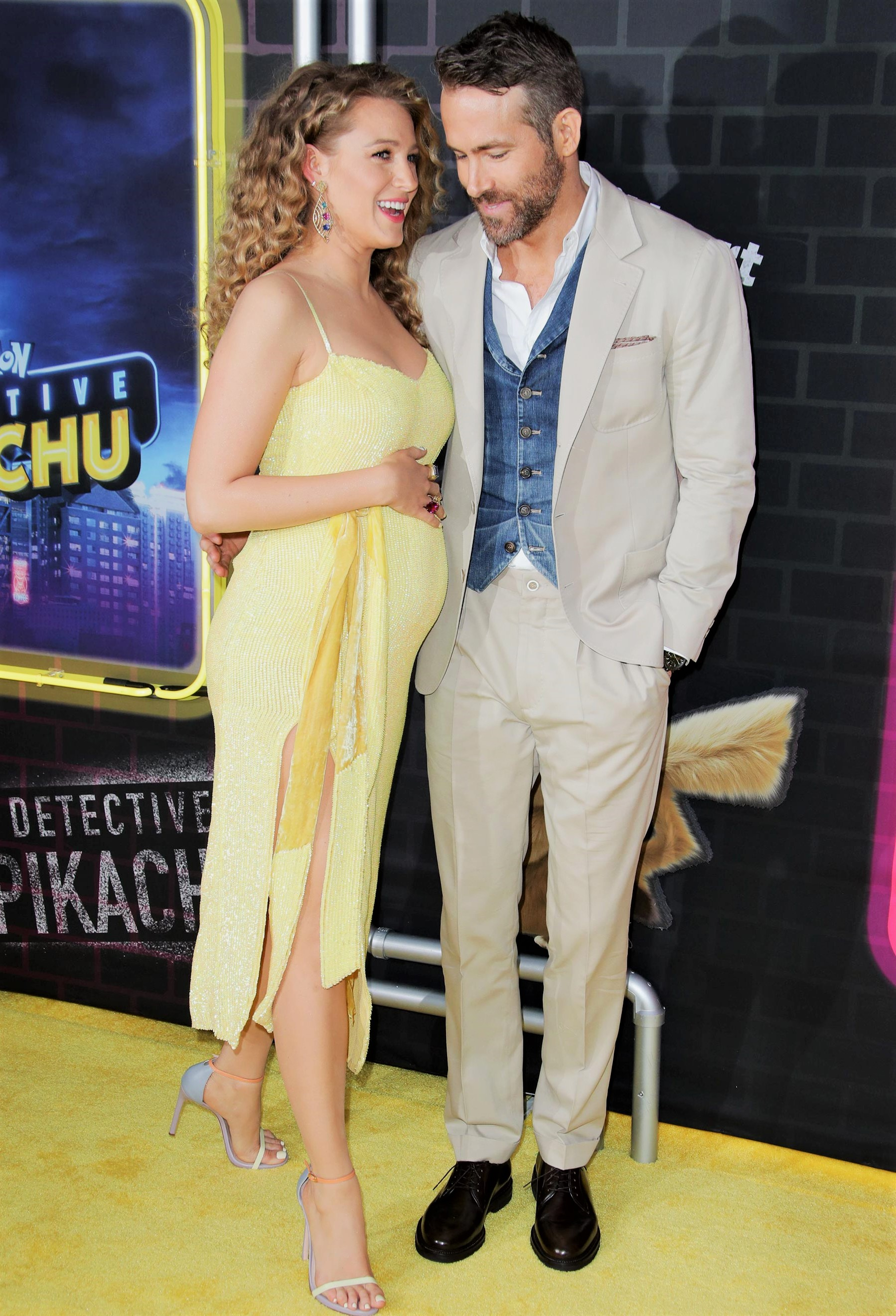 Pregnant Blake Lively and Ryan Reynolds Pokemon Detective Pikachu Movie Premiere